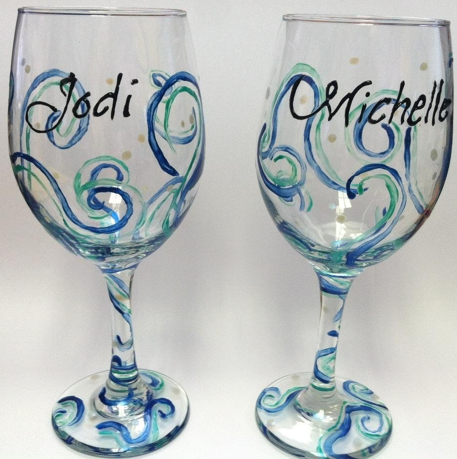hand painted wine glasses ideas design : beautiful glass painting