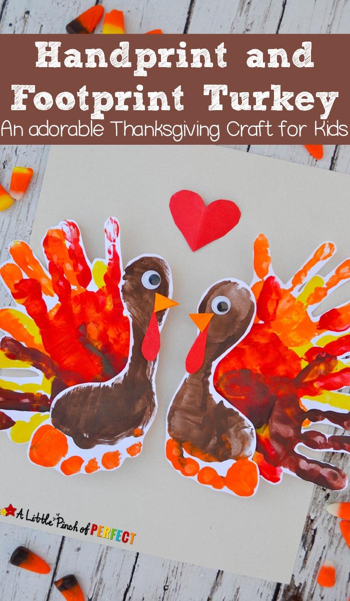 handprint and footprint turkey: an adorable thanksgiving craft for