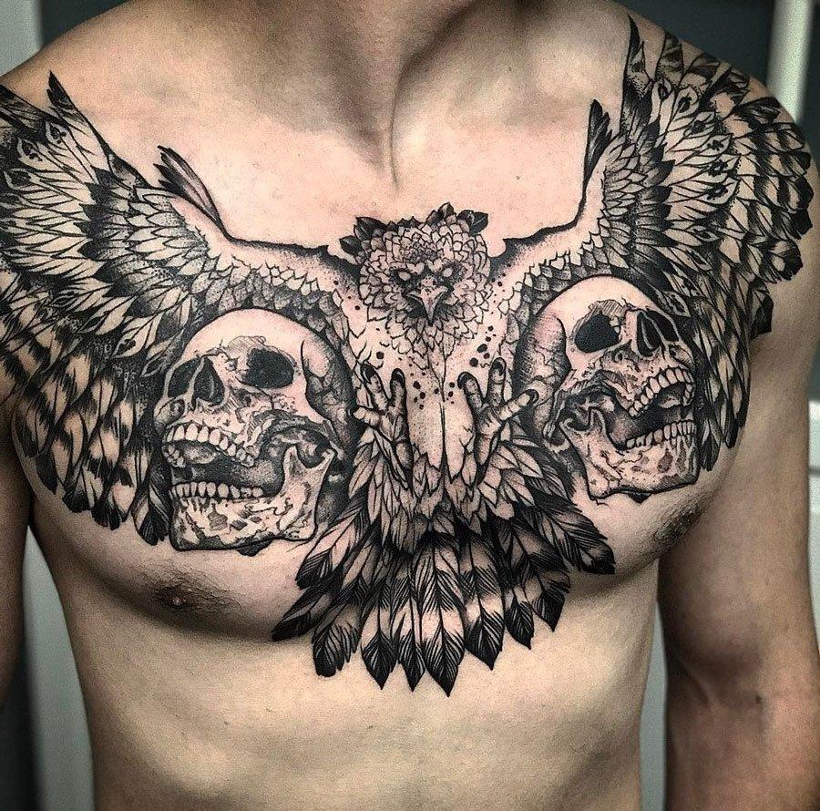 10 Fabulous Chest Piece Tattoo Ideas For Guys harpy eagle skulls mens chest piece best tattoo design ideas 2021