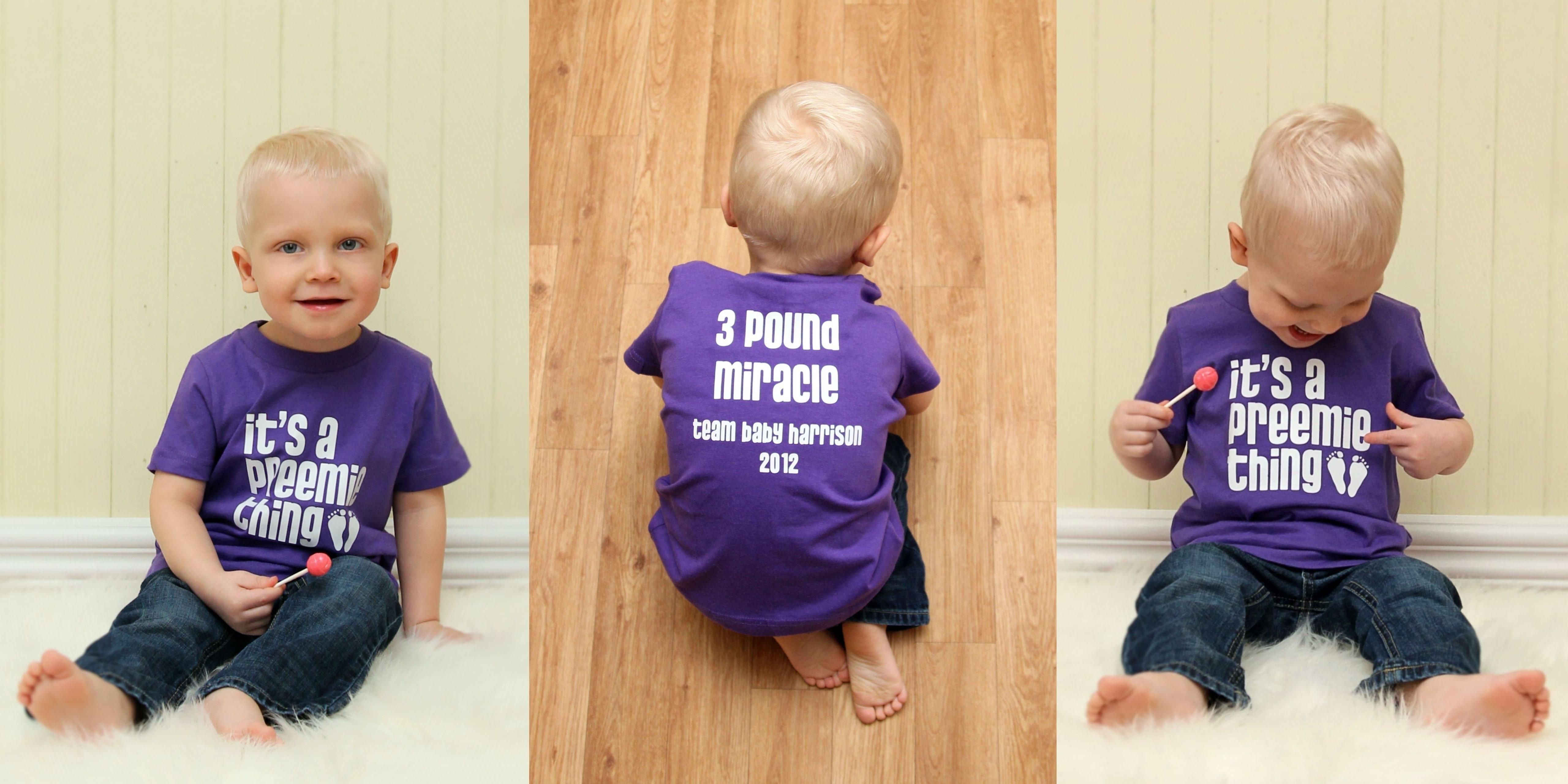 harrison born 11 weeks too soon, wearing one of my custom shirts