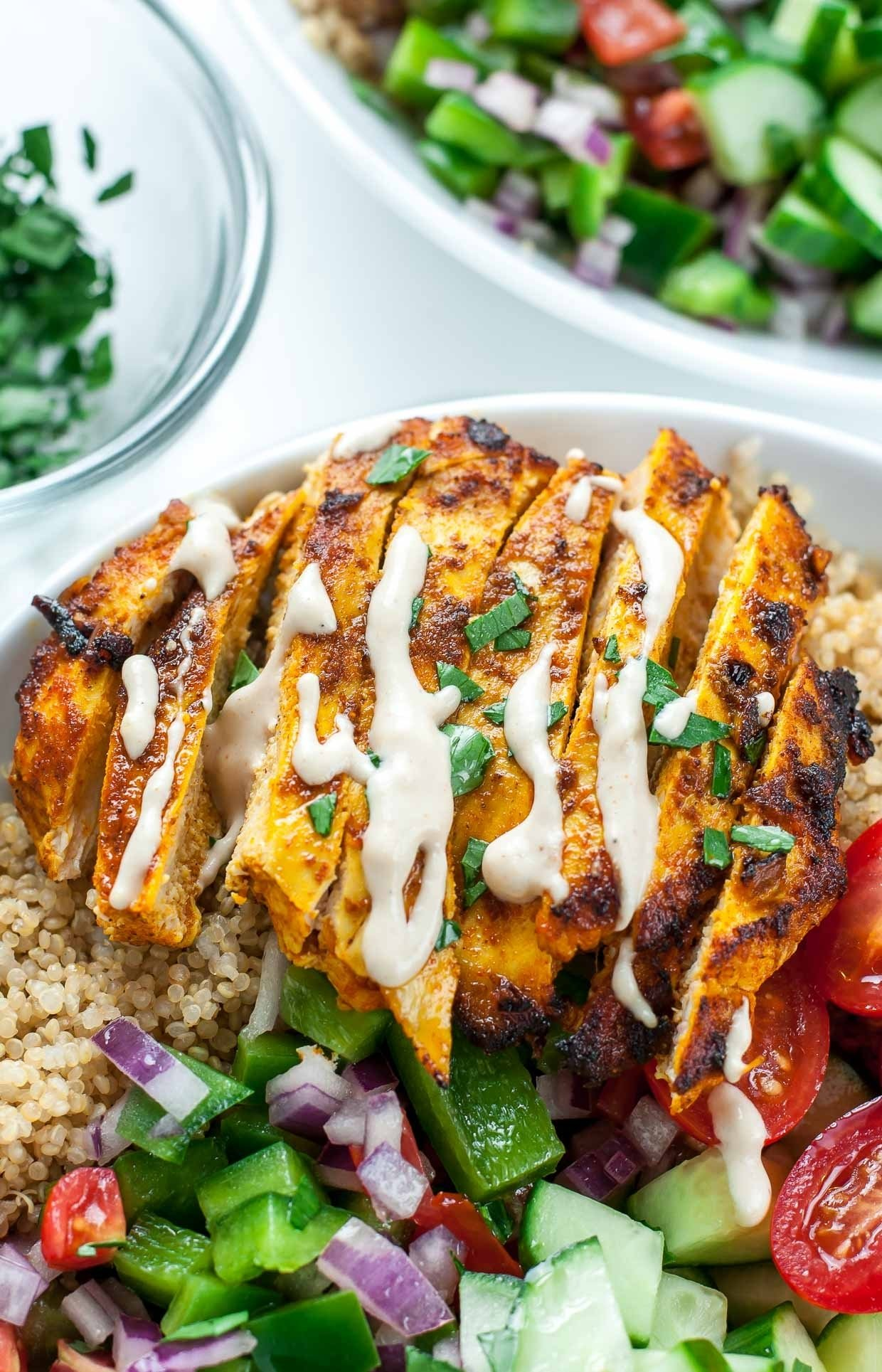 10 Attractive Healthy Dinner Ideas With Chicken healthy chicken shawarma quinoa bowls peas and crayons 1 2020
