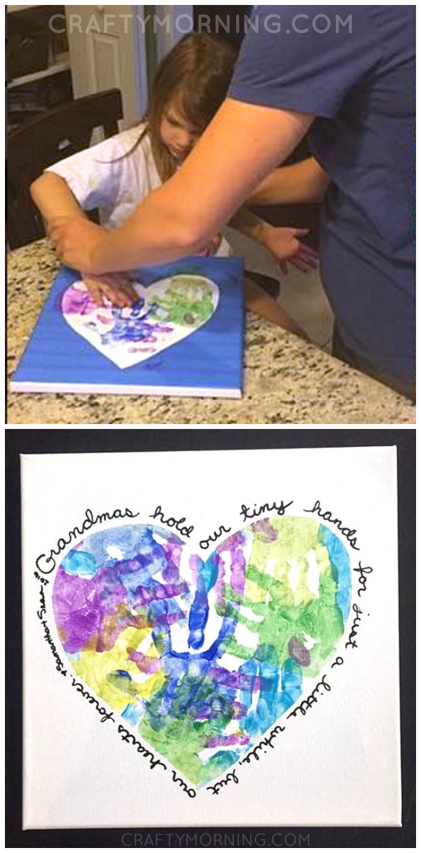 10 Spectacular Homemade Gift Ideas For Grandma heart handprint canvas for grandma or mom on mothers day great 1 2020