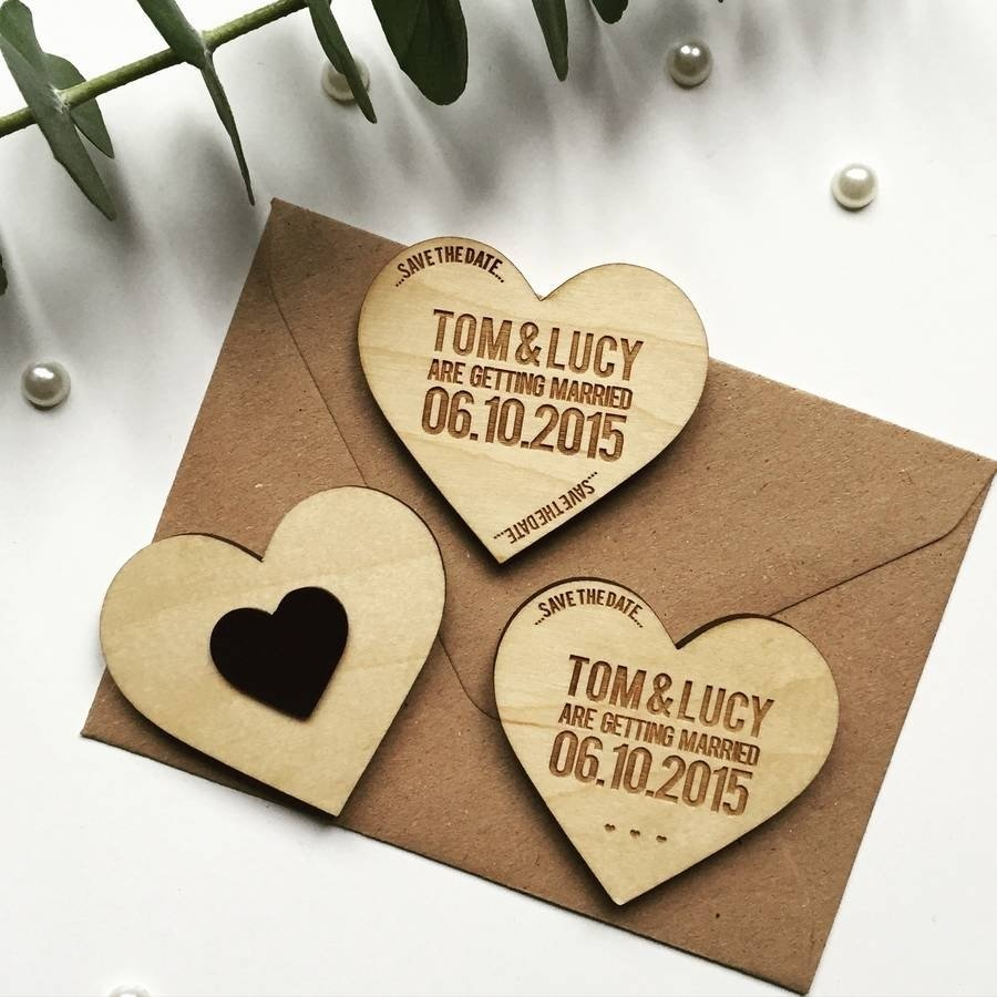 10 Trendy Unique Save The Date Ideas heart token wooden magnet save the datedesigneleven 6 2020
