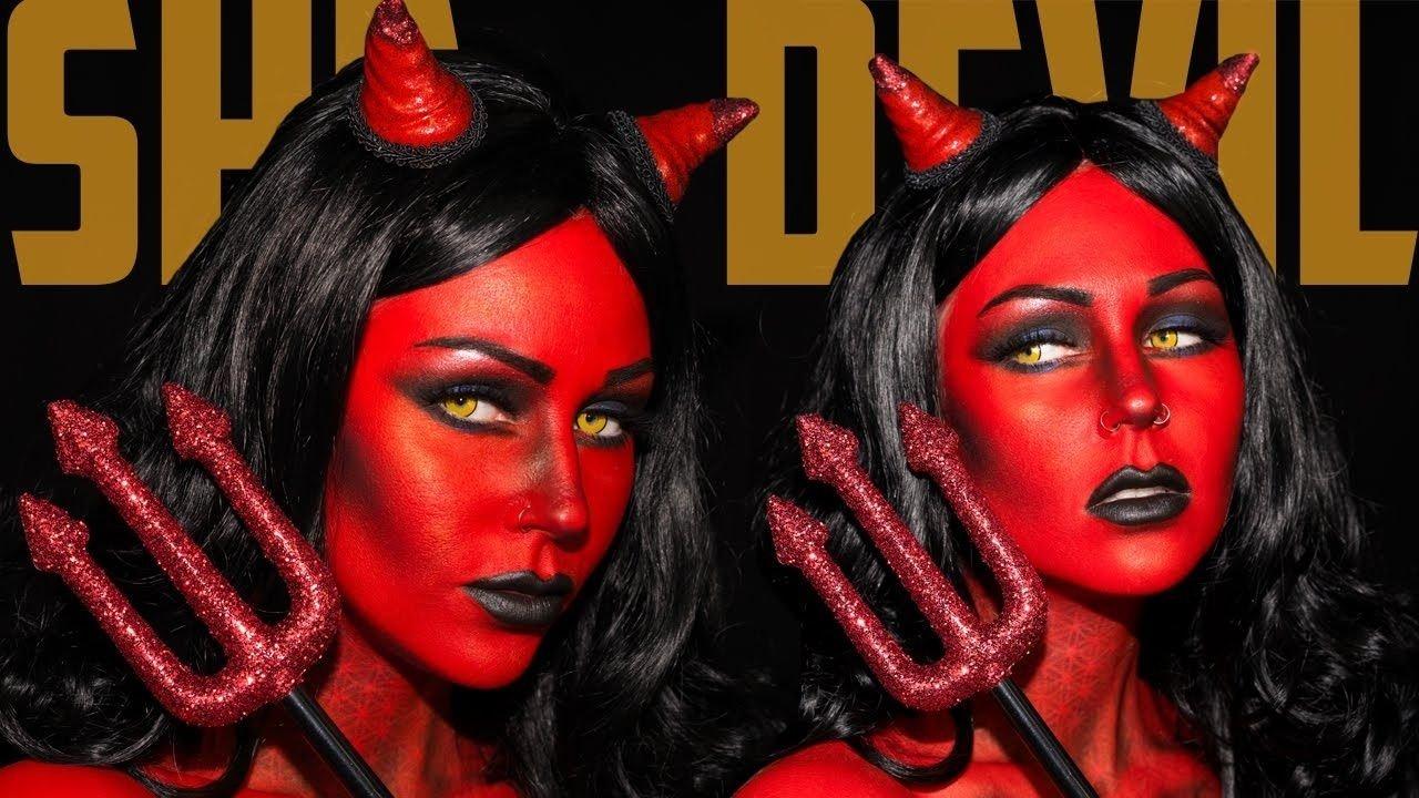 10 Awesome Heaven And Hell Costume Ideas heaven hell she devil makeup tutorial jordan hanz kristen leanne 2020