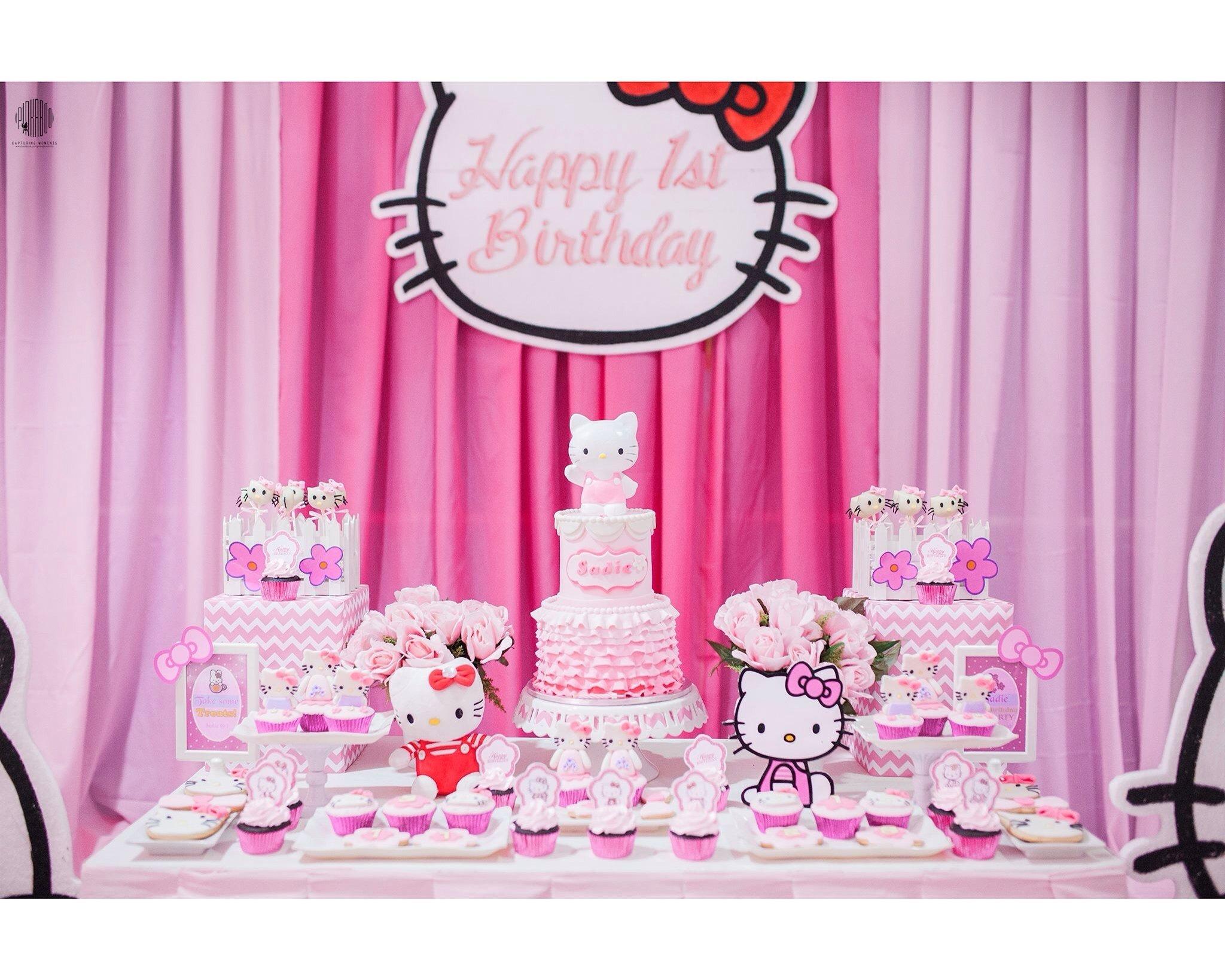 10 Unique Hello Kitty Party Decoration Ideas hello kitty dessert table set upcakecupcakescookies sweet pea 2021