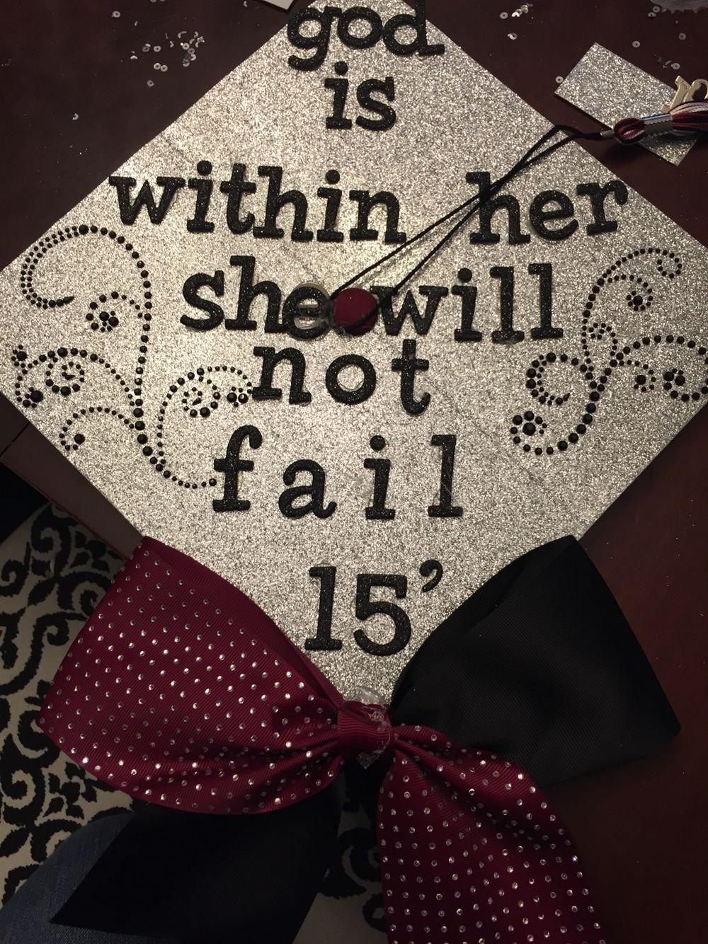 10 Lovely High School Graduation Cap Decoration Ideas high school graduation cap sparkles bow cheer christian 2020