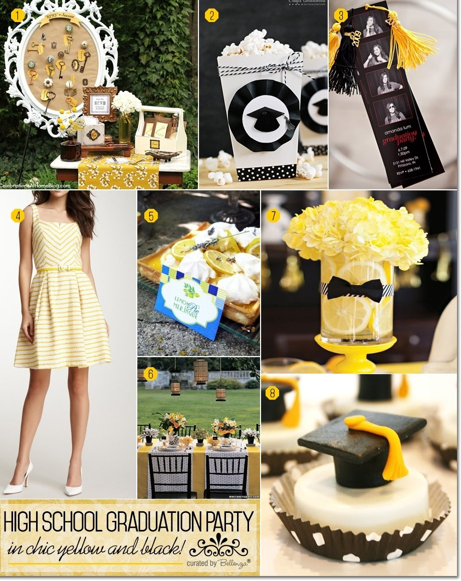 high school graduation party in chic yellow and black