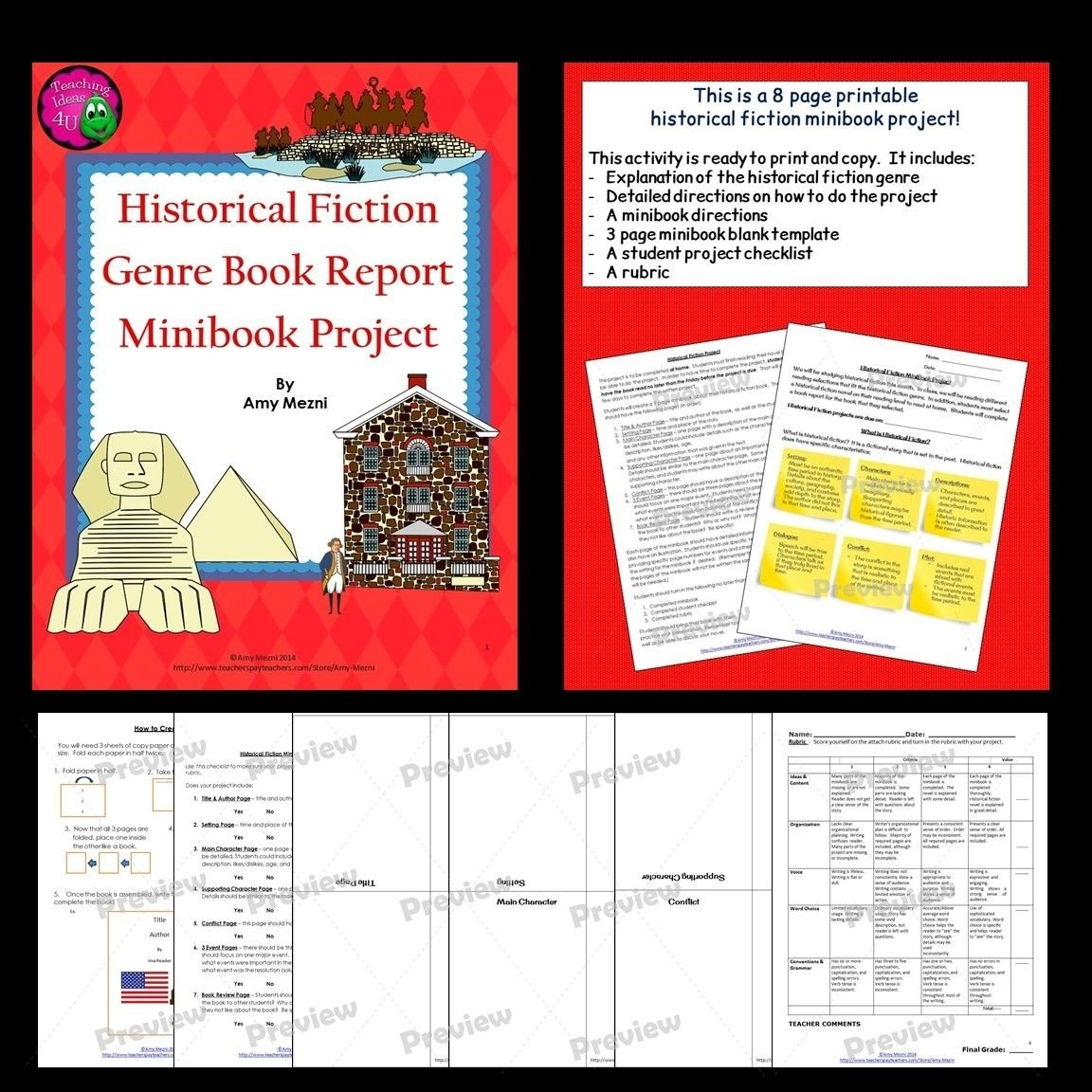historical fiction genre minibook book report project & rubric