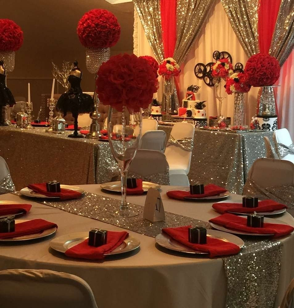 10 Amazing Sweet 16 Table Decoration Ideas hollywood quinceanera party ideas birthdays sweet 16 and 2020