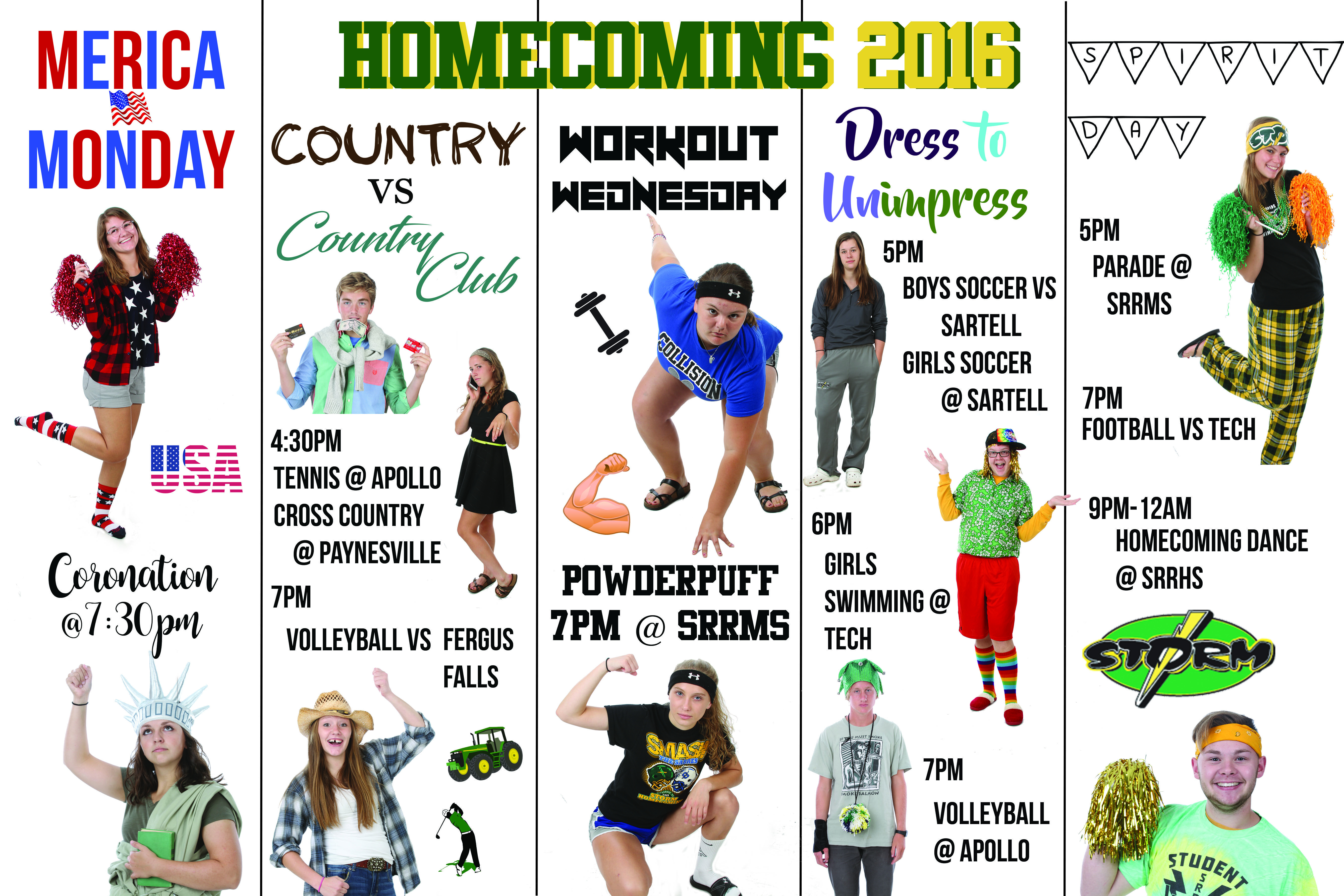 homecoming dress up days poster student council high school dress up