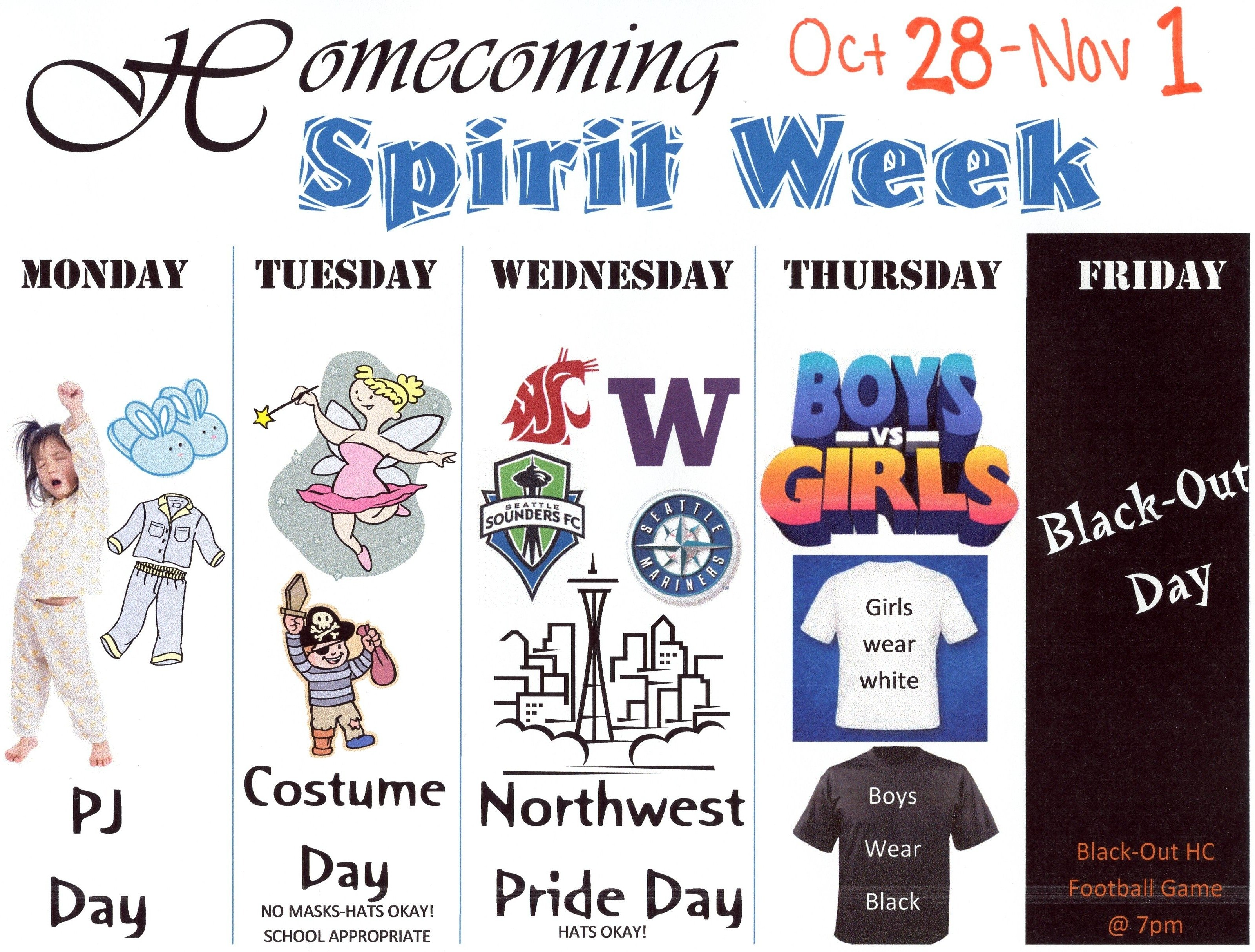 10 Unique High School Spirit Week Ideas homecoming spirit week tahoma high school 8 2021