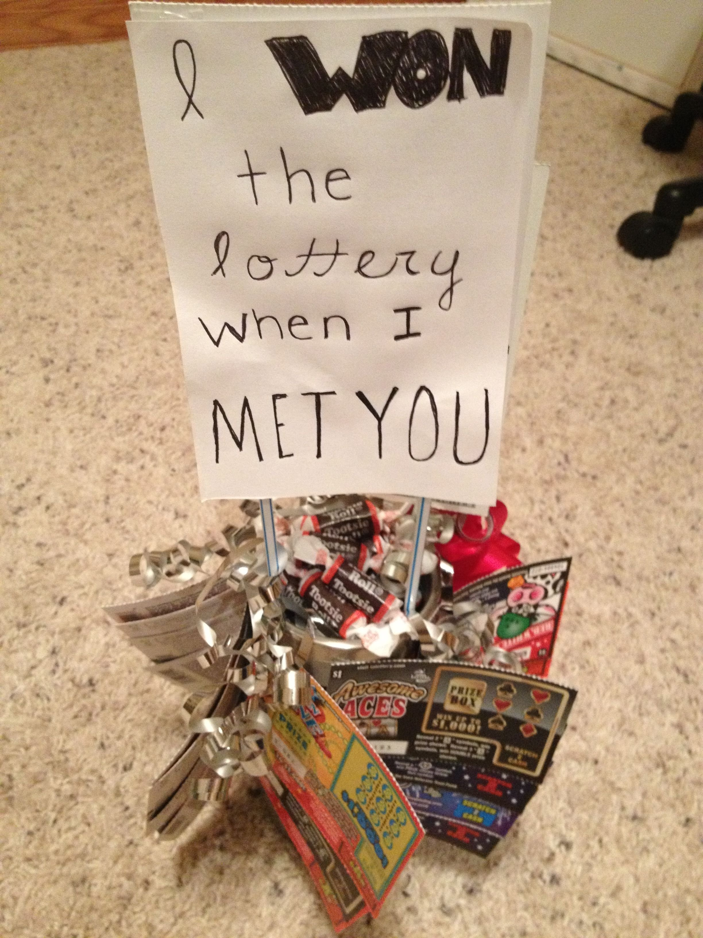 10 Stylish Homemade Birthday Ideas For Boyfriend homemade gift with candies and lottery tickets i won the lottery 2020