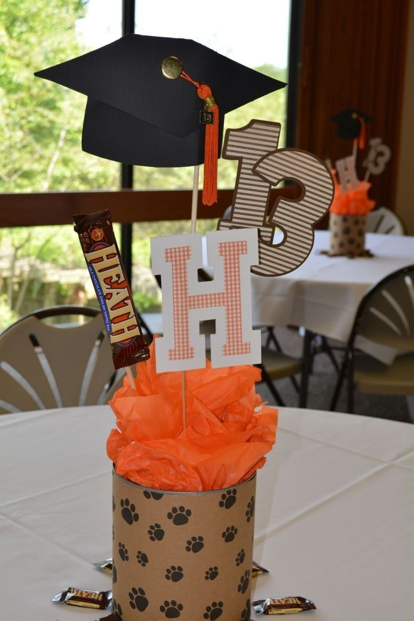 10 Most Popular Graduation Party Table Centerpiece Ideas homemade graduation table centerpiece with paw print wrapping