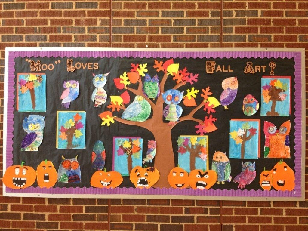 10 Fantastic Fall Halloween Bulletin Board Ideas hoo loves fall art bulletin board idea myclassroomideas 2020