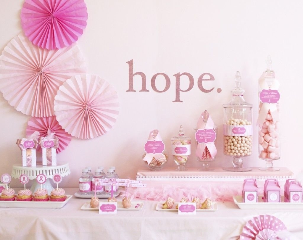 10 Lovable Breast Cancer Survivor Party Ideas hope for a cure breast cancer awareness month dessert table 1