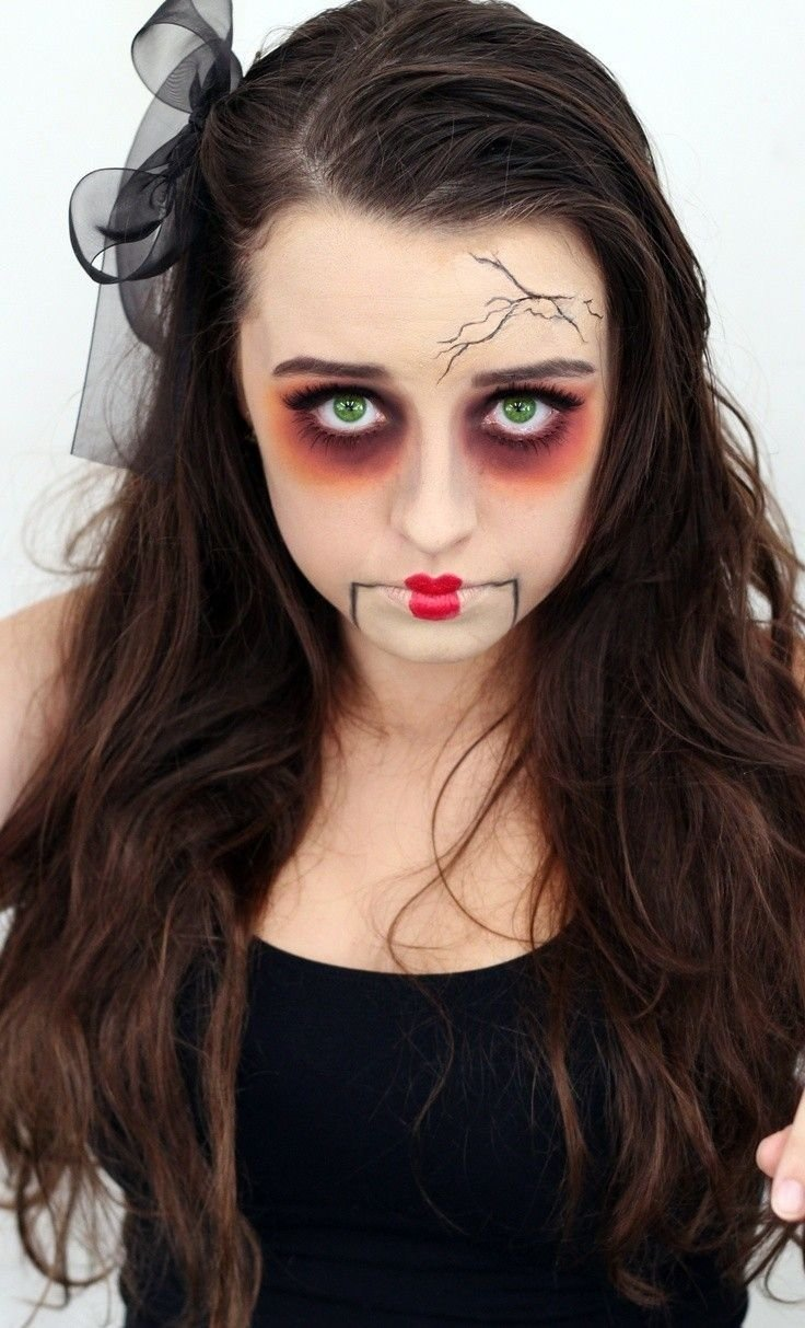 10 Best Face Painting For Halloween Ideas horrible temporary doll makeup for girls 2014 halloween face