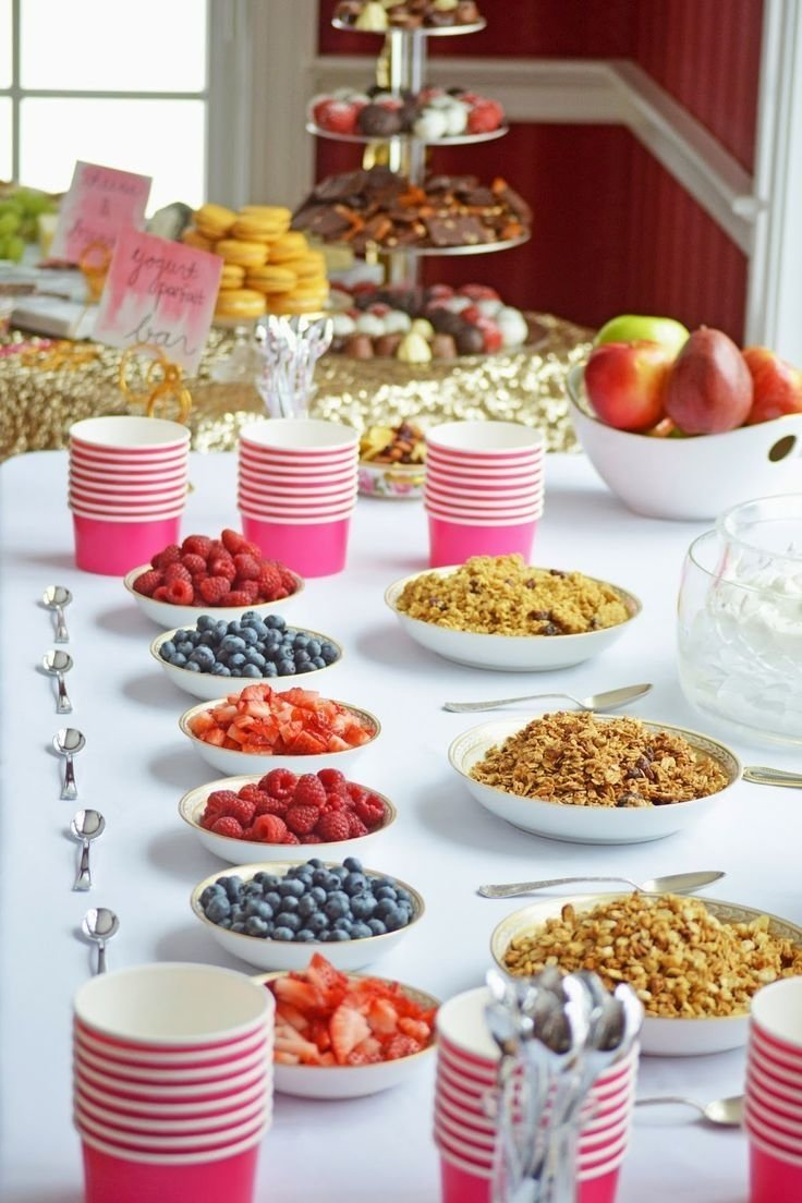 hostess of a bridal shower brunch | yogurt parfait bar, yogurt