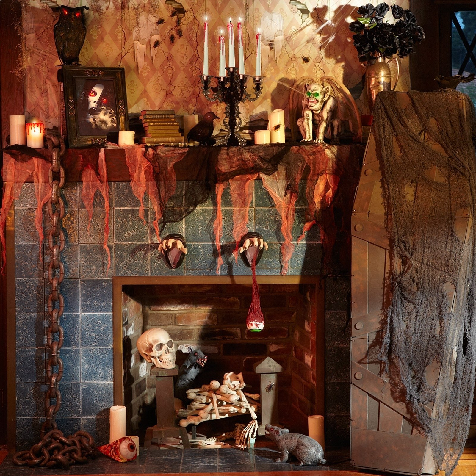 10 Stunning Scary Haunted House Room Ideas house decor for halloween with scary skulls and red creepy drape 2021