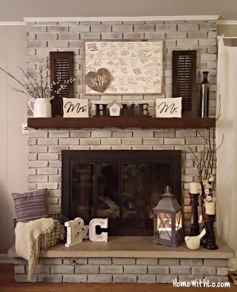 10 Unique Mantel Ideas For Brick Fireplace how i updated our fireplacepainting the outdated brass cover and 2021