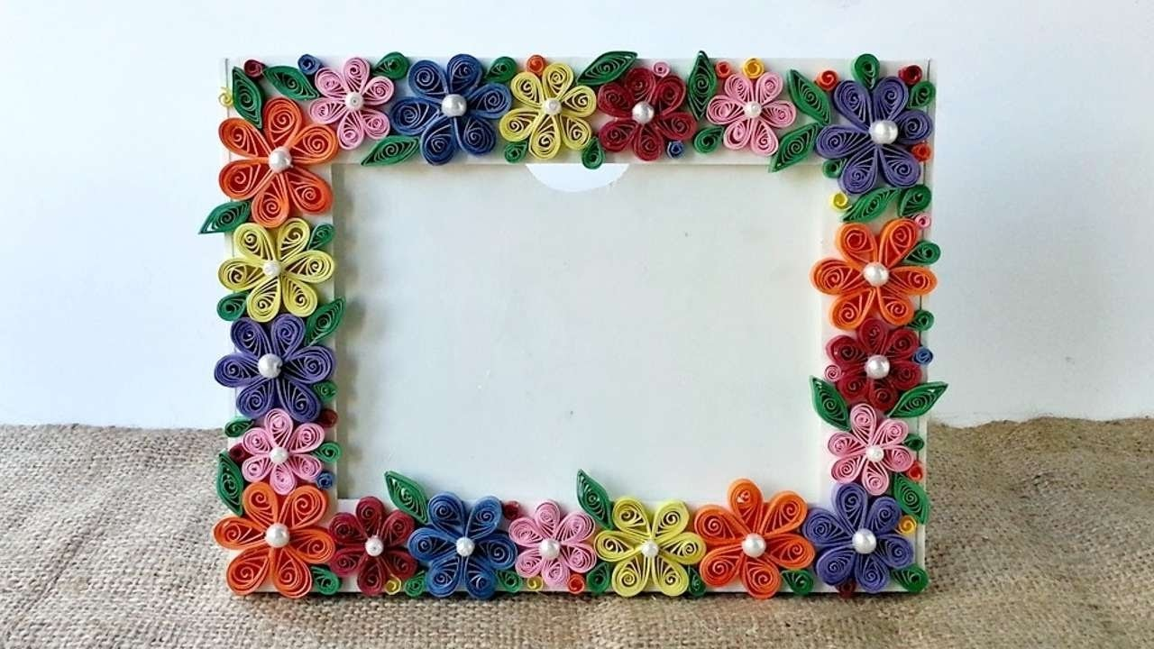 10 Famous Craft Ideas For Picture Frames how to create a colorful floral photo frame diy crafts tutorial 2020