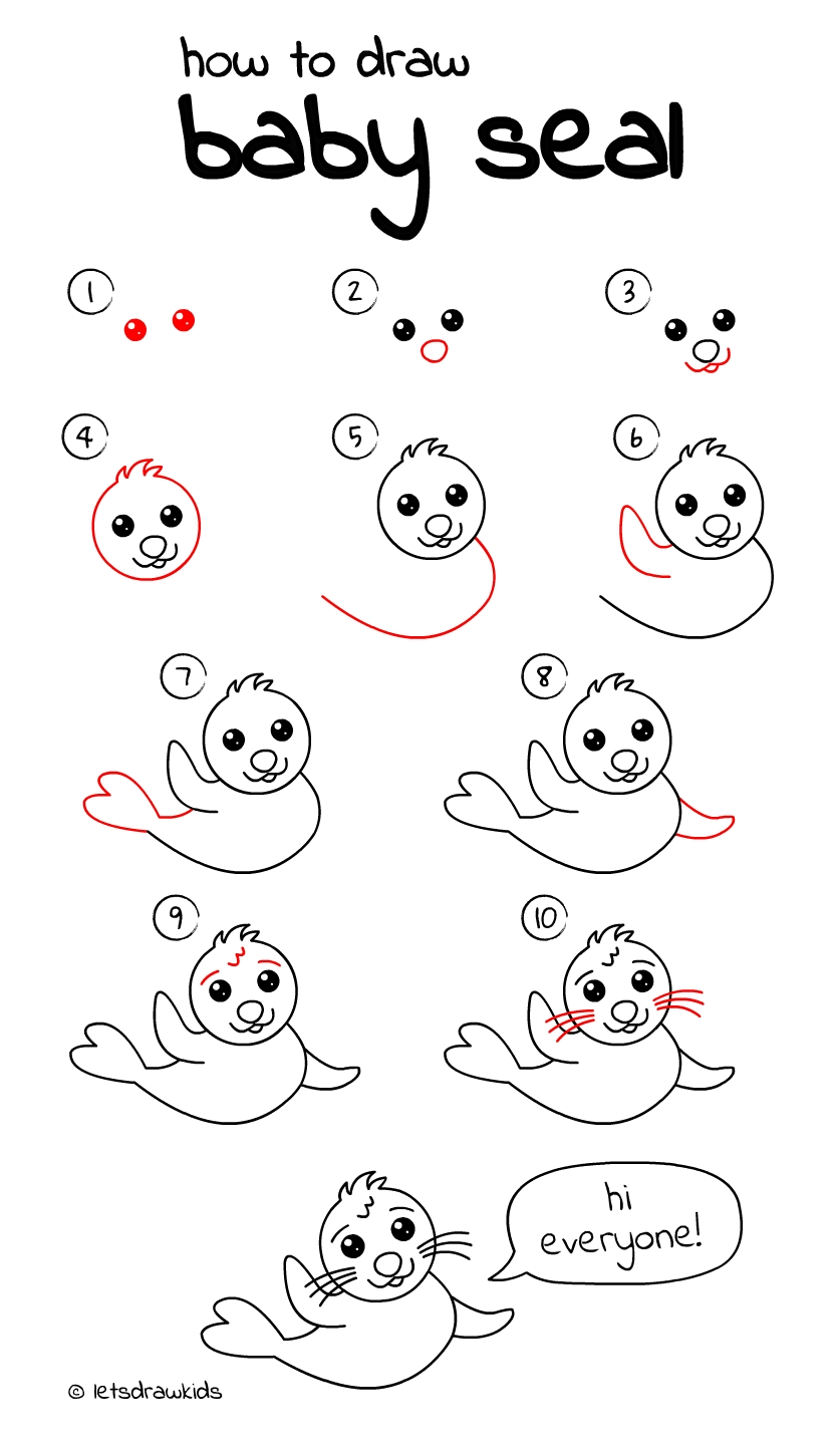 10 Elegant Drawing Ideas For Kids Step By Step how to draw baby seal easy drawing stepstep perfect for kids 2021