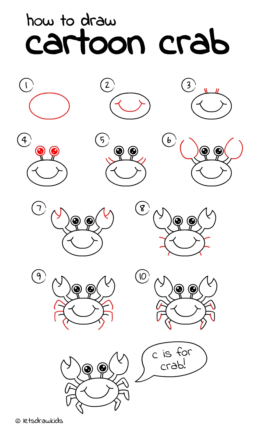 how to draw crab. easy drawing, stepstep, perfect for kids