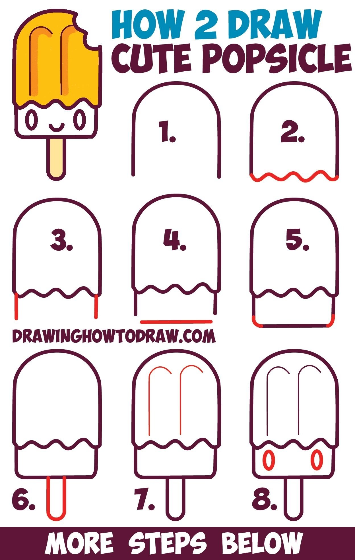 10 Elegant Drawing Ideas For Kids Step By Step how to draw cute kawaii popsicle creamsicle with face on it easy 2021