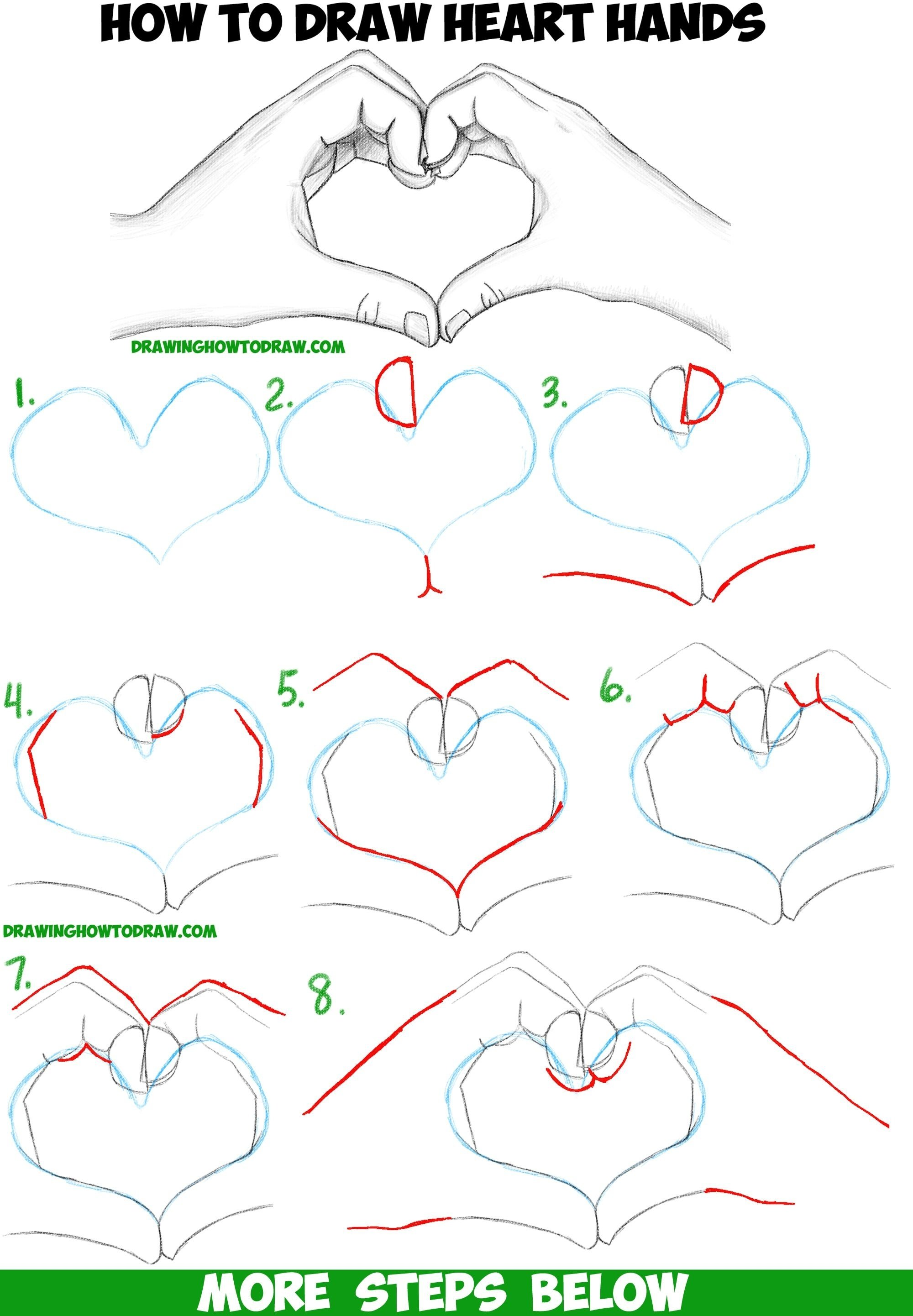how to draw heart hands in easy to follow stepstep drawing