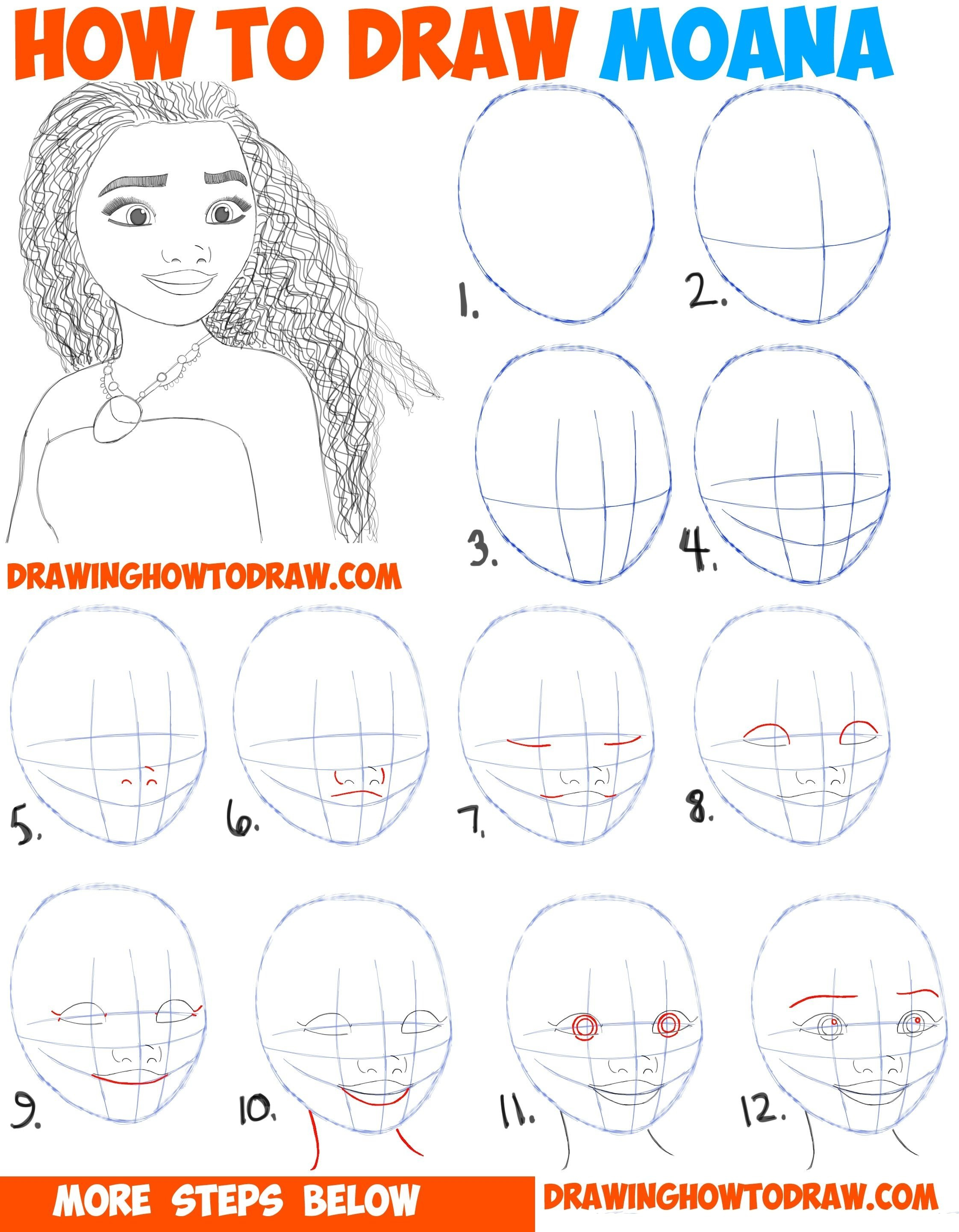 10 Attractive Drawing Ideas Step By Step how to draw moana easy stepstep drawing tutorial for kids and
