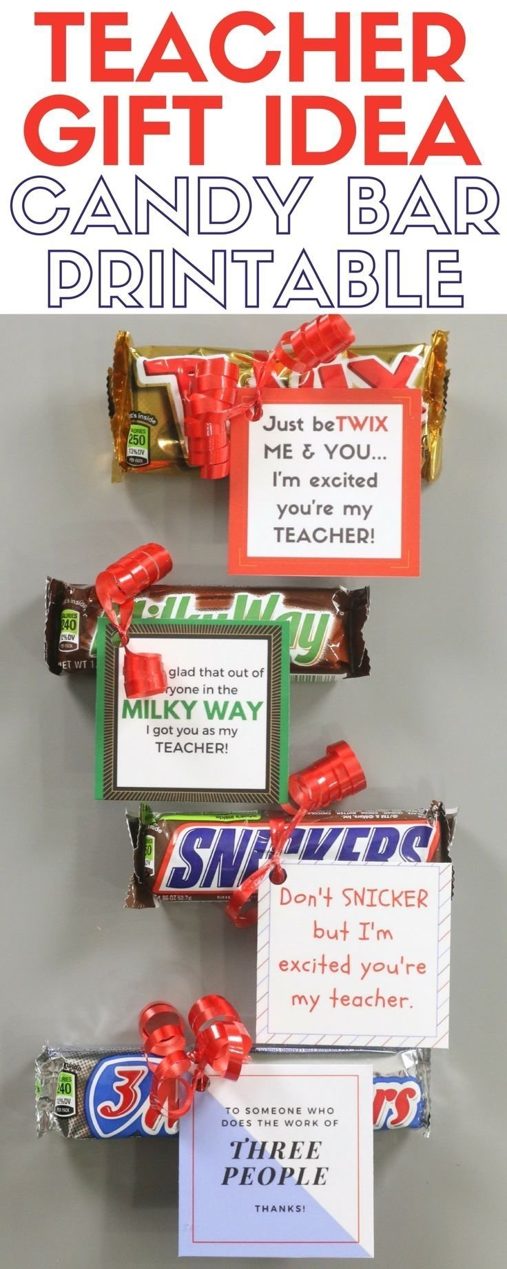 how to make a candy bar printable teacher gift idea | ribbon crafts