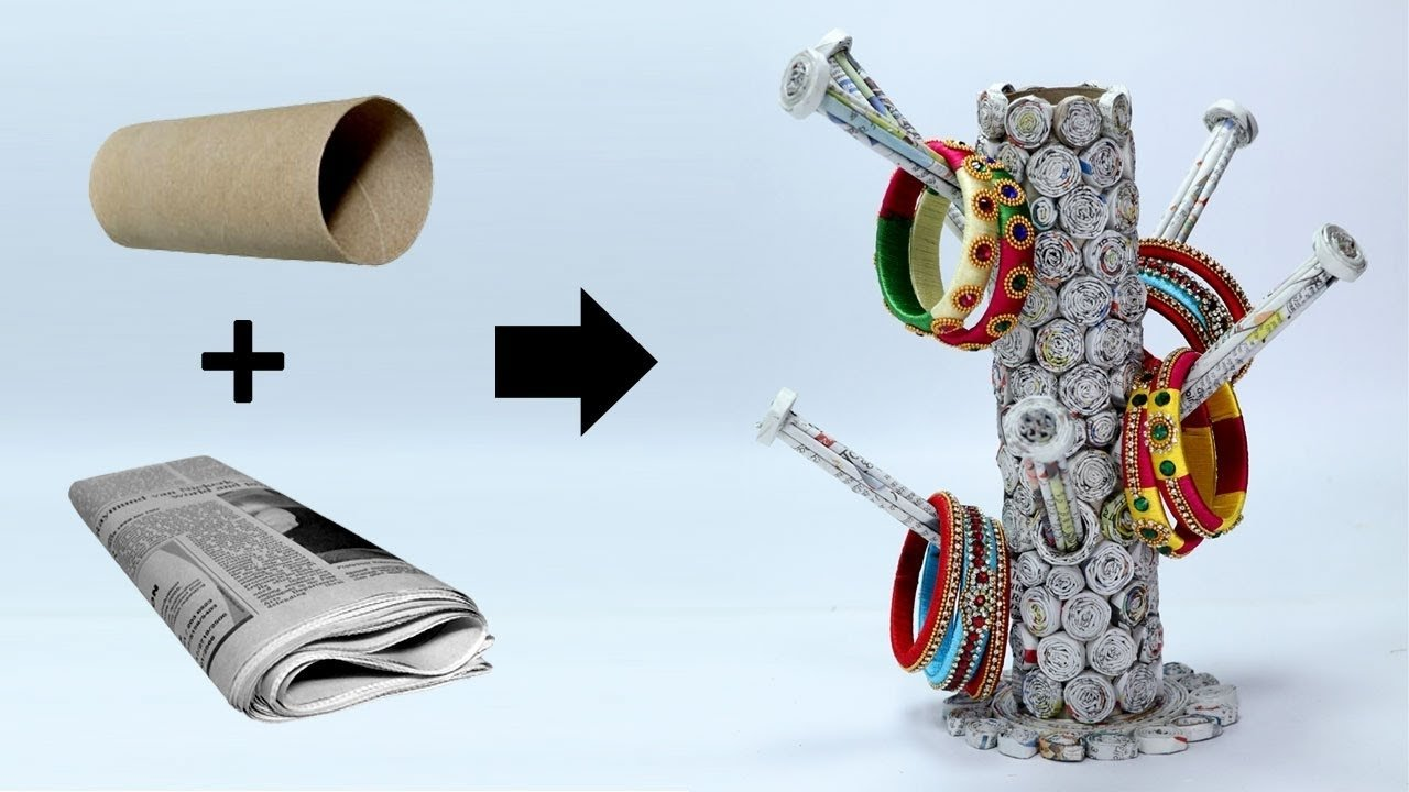 10 Attractive Best Out Of Waste Ideas how to make bangle stand with newspaper best out of waste ideas