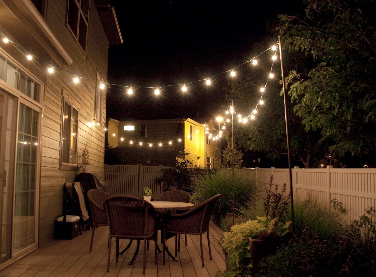10 Amazing Outdoor Lighting Ideas For Patios how to make inexpensive poles to hang string lights on cafe style 2020