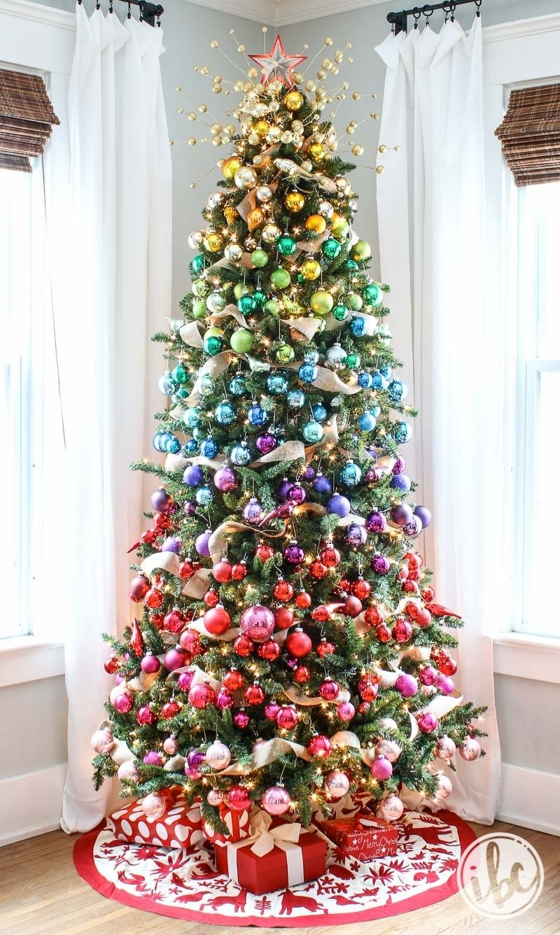 10 Pretty Unique Christmas Tree Decorating Ideas how to style the ultimate gradient rainbow christmas tree
