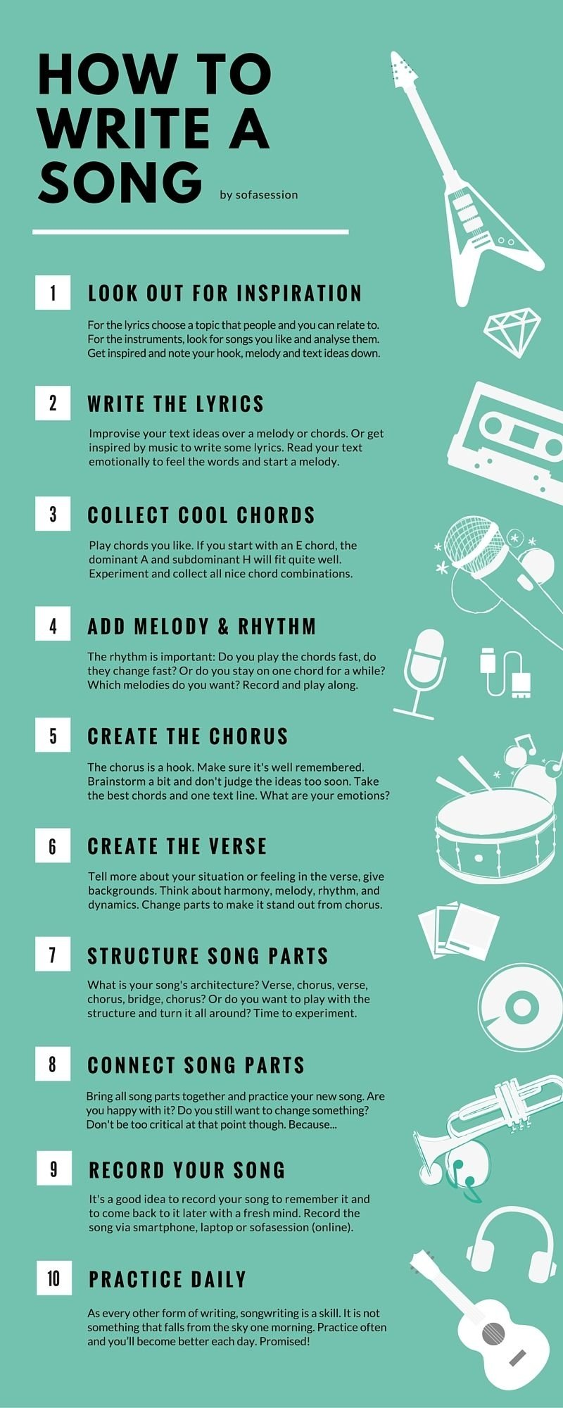 10 Awesome Ideas To Write A Song how to write a song in 10 steps as a beginner the infographic shows 2021