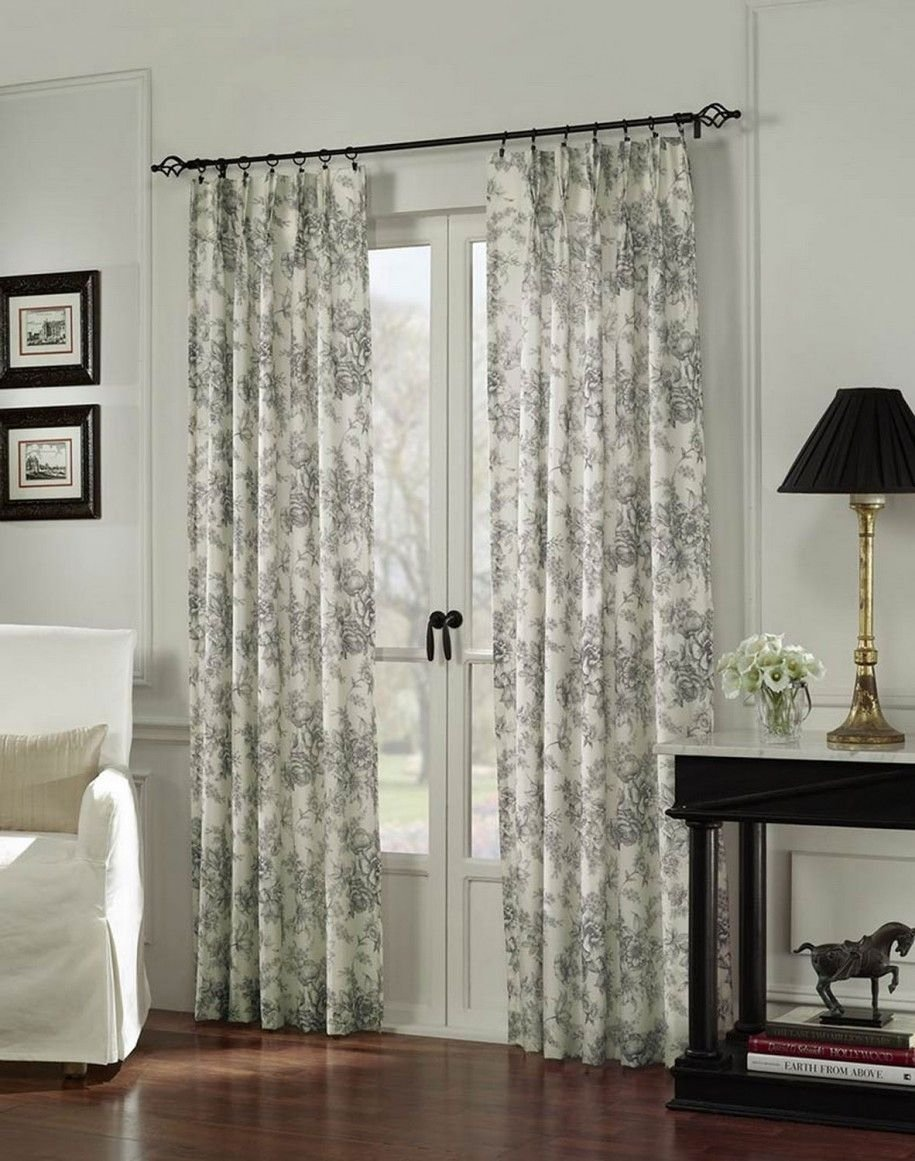 10 Stylish Curtain Ideas For French Doors i like these curtains in a blue for the two windows on either side