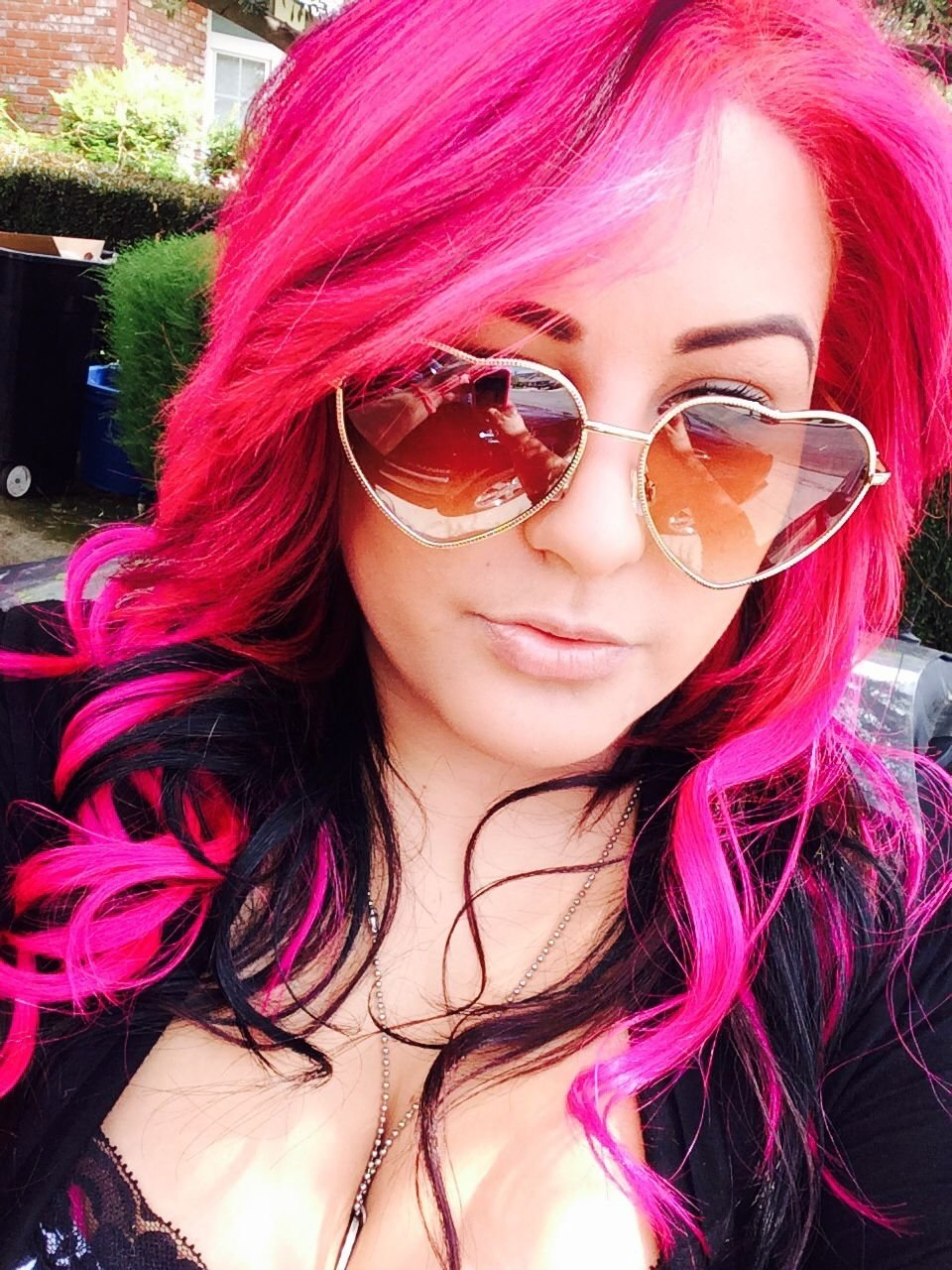 10 Unique Pink And Black Hair Ideas i love my hair half hot pink and half chocolate brown no its