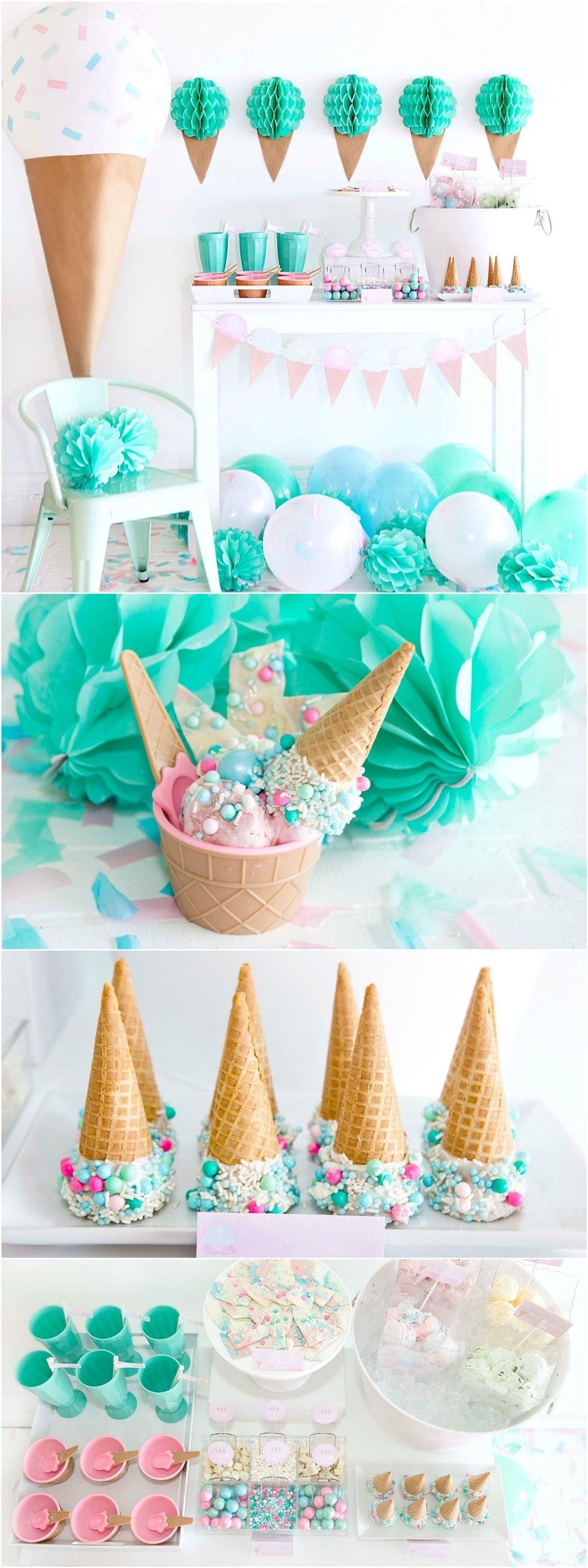 10 Fabulous Ice Cream Birthday Party Ideas ice cream party mint green aqua and light pink party maeva 2020