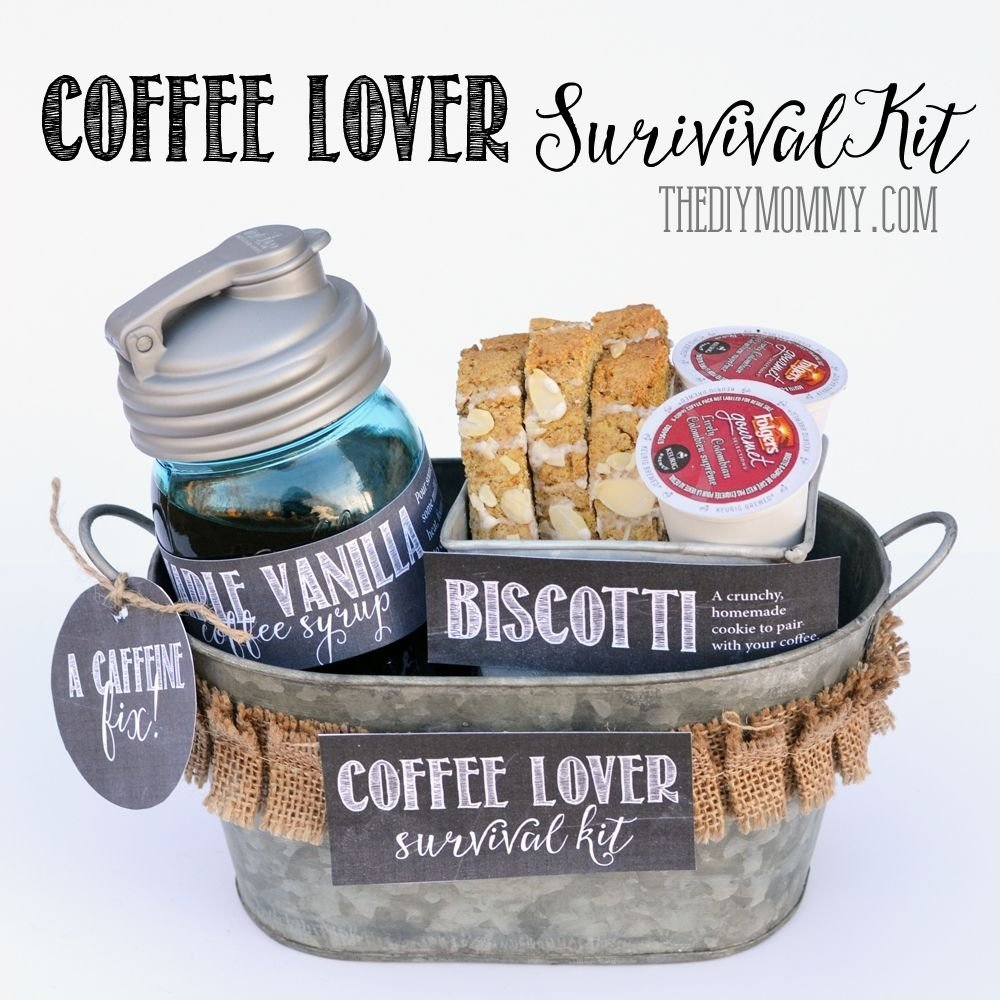 10 Pretty Gift Ideas For Coffee Lovers idea for a coffee lover coffee lover survival kit but in a basket 2020