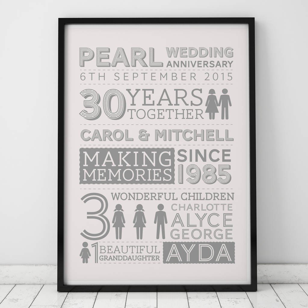 ideas for 30th wedding anniversary gifts elegant 30th wedding pearl