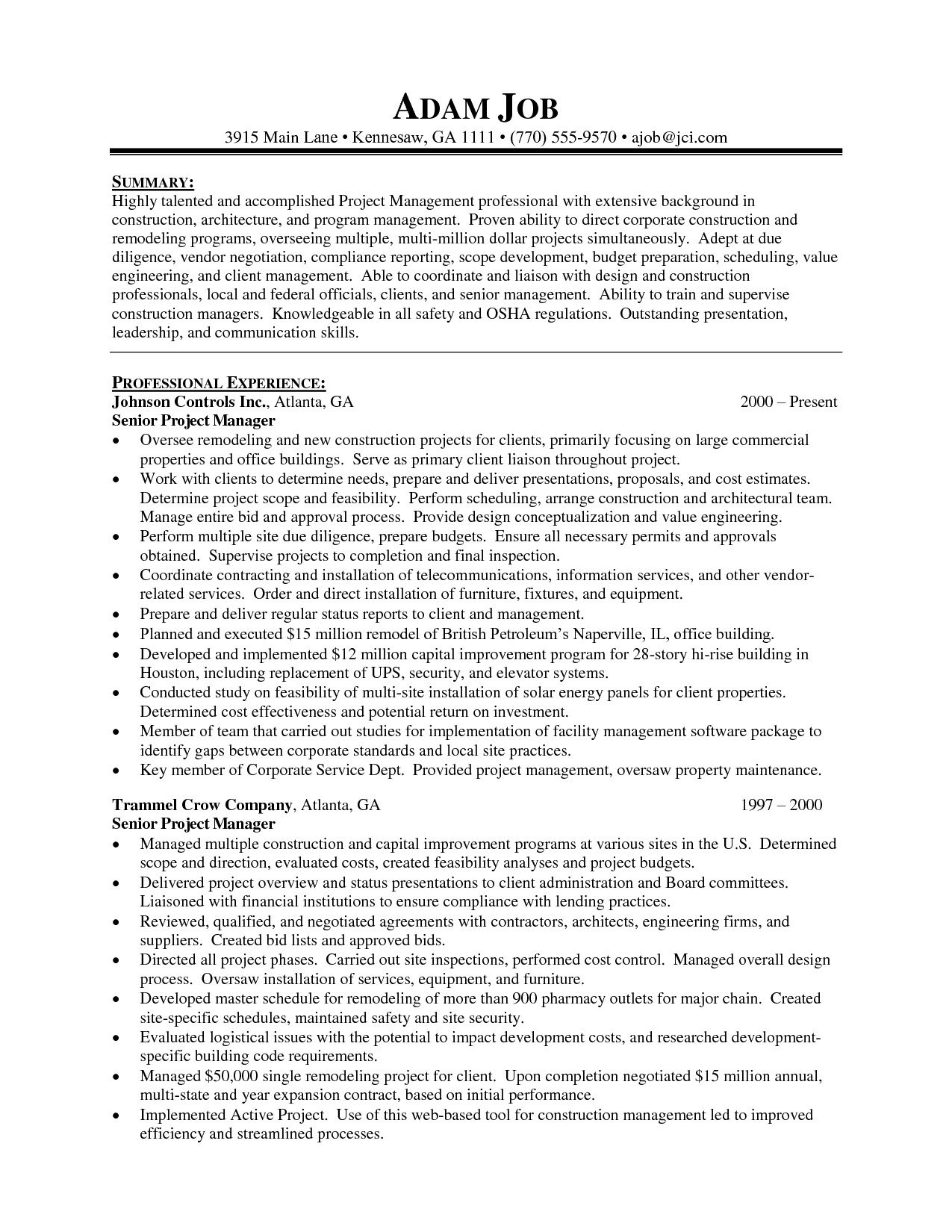 10 Best Ideas For A Senior Project ideas of resume sample for project manager senior project manager 2020