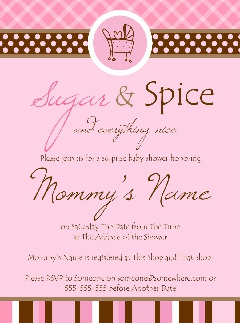 ideas sugar and spice baby shower invitations printable pink whiten
