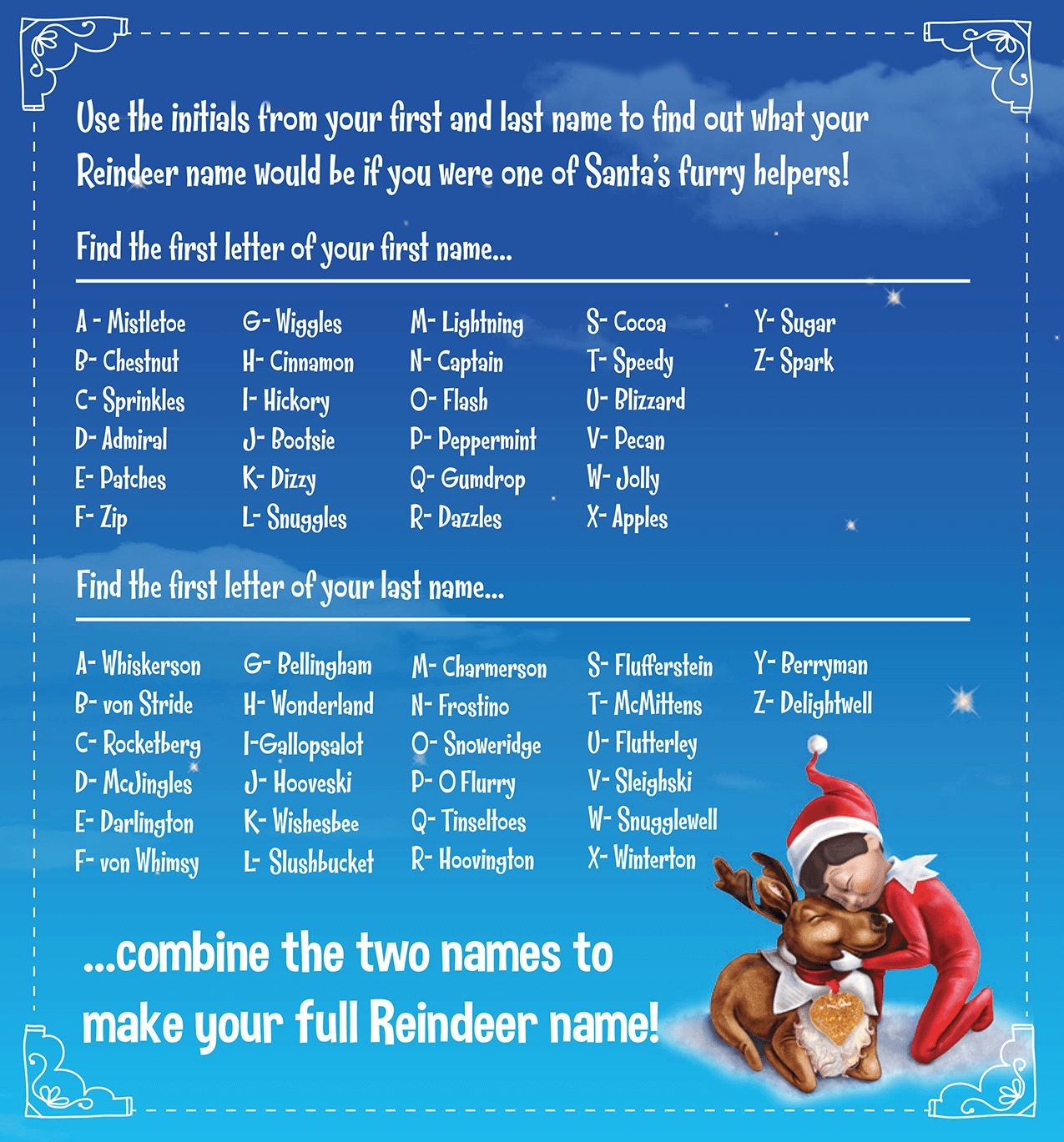 10 Elegant Elf On The Shelf Names Ideas if you were a reindeer what would your name be elf pets shelf 1