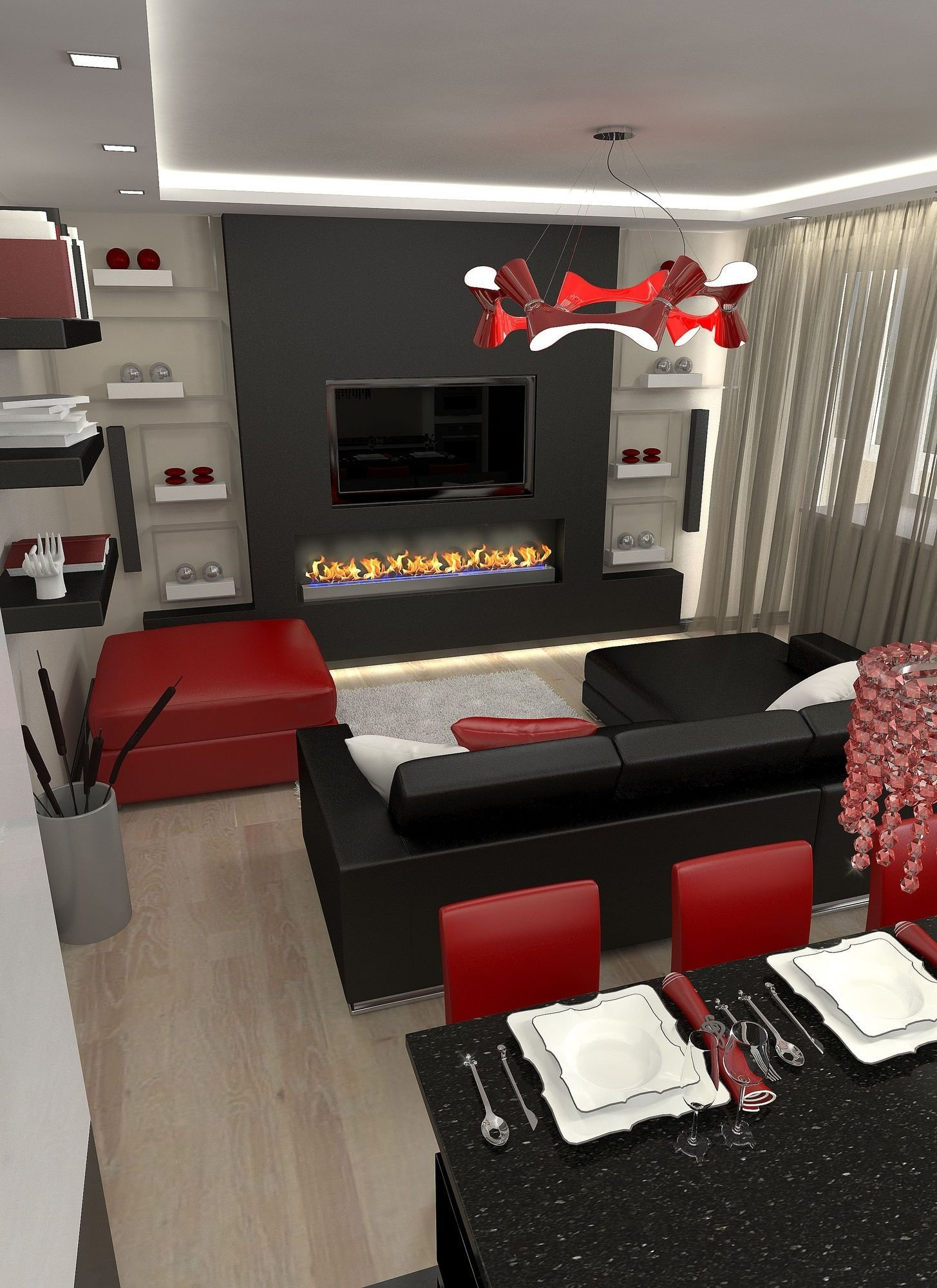 10 Beautiful Red And Black Living Room Ideas incridible elegant red white and black living room l ecfcecared 2020