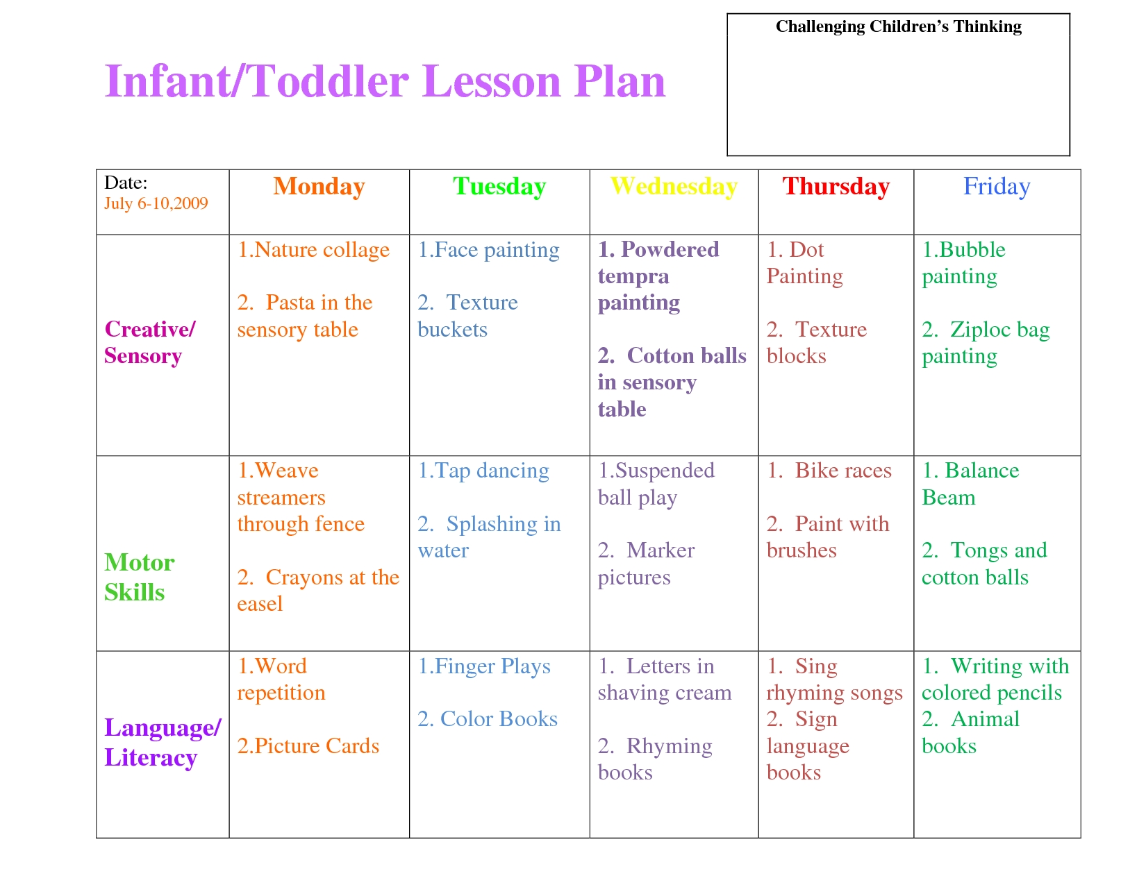 infant blank lesson plan sheets | infanttoddler lesson plan | lesson
