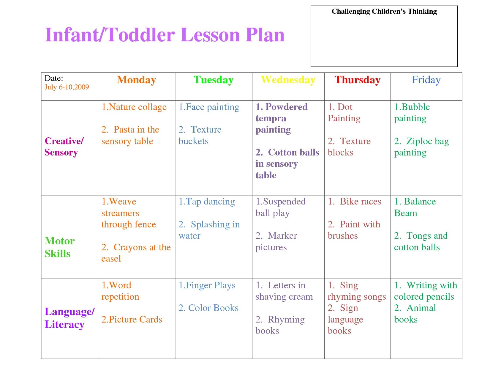 10 Lovely Lesson Plan Ideas For Preschoolers infant blank lesson plan sheets infanttoddler lesson plan lesson 2 2020
