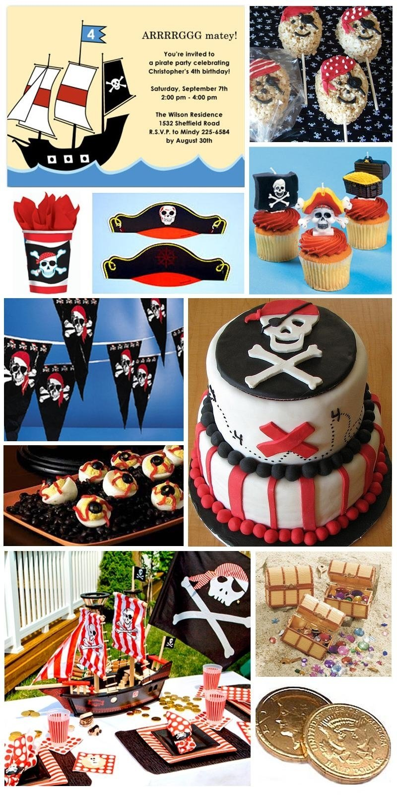 inspiration board: pirate birthday party theme | pirate birthday