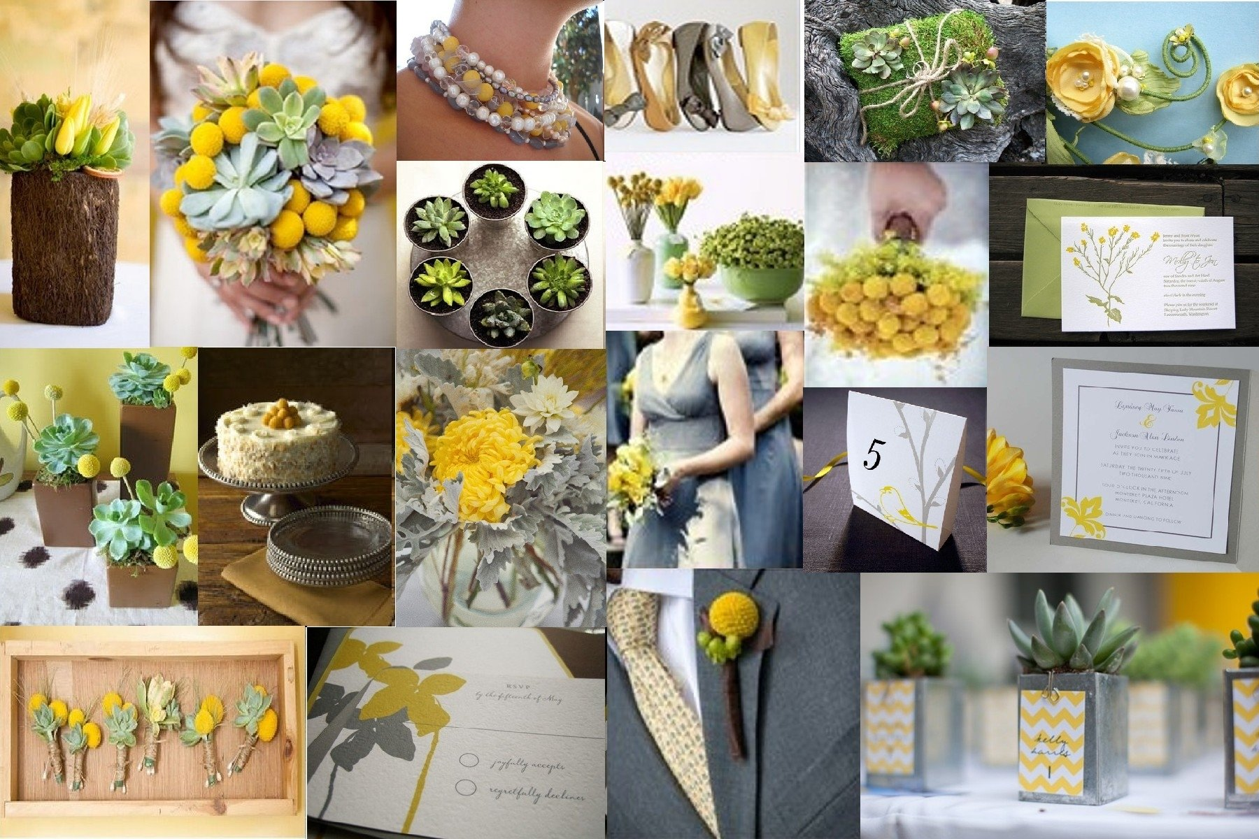 10 Cute Yellow And Gray Wedding Ideas inspiration slate yellow and green 1
