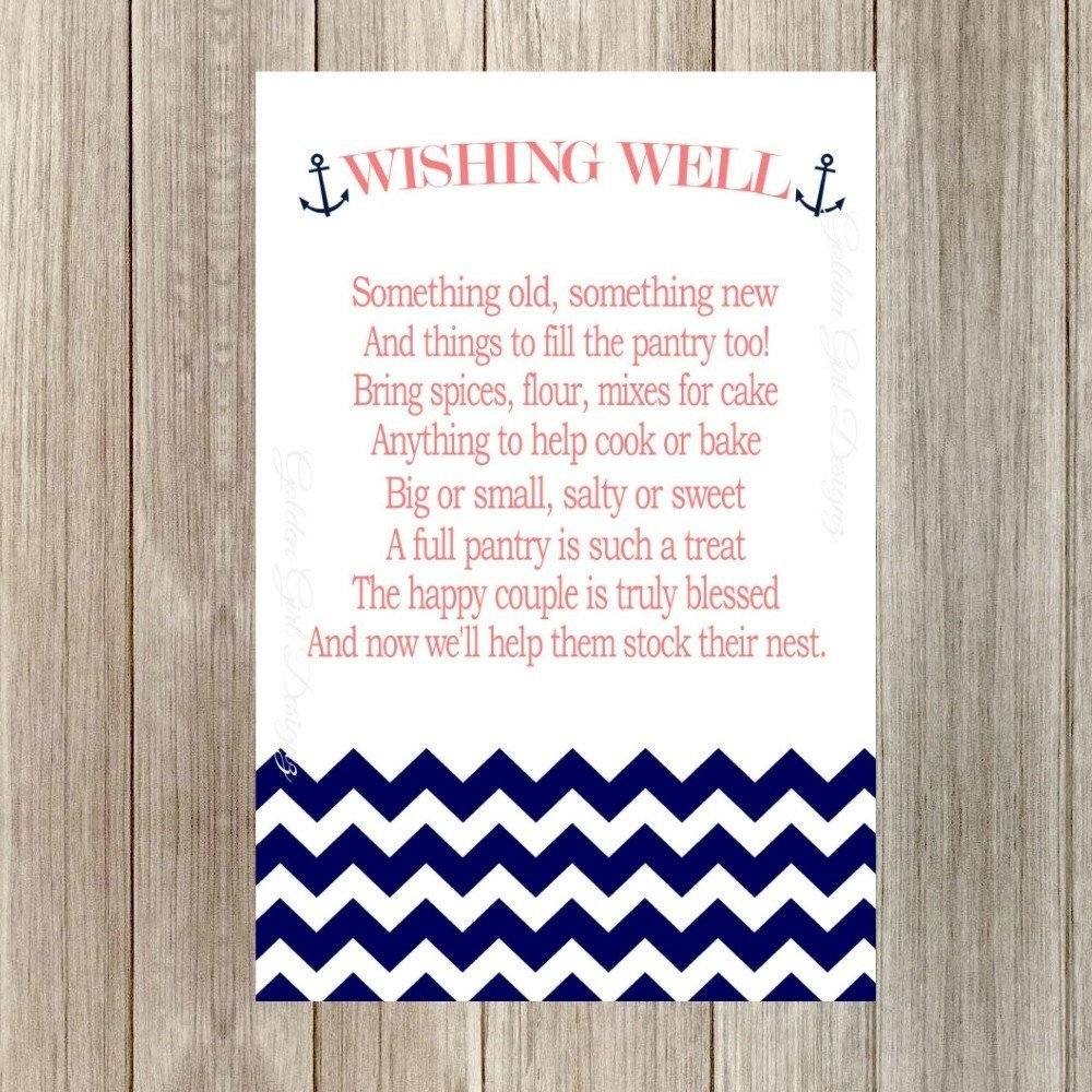 instant download wedding wishing well cards, pantry party, nautical