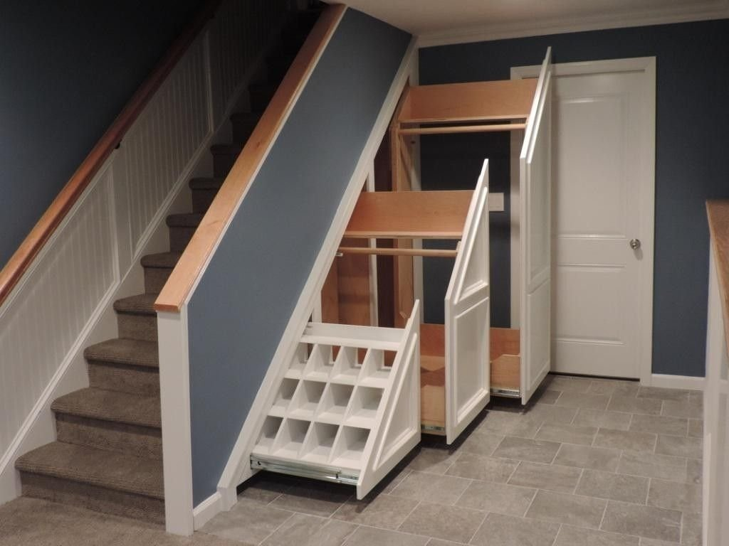 10 Most Popular Under The Stairs Storage Ideas interior exciting storage clever closet white oak wood tiled floor 2020