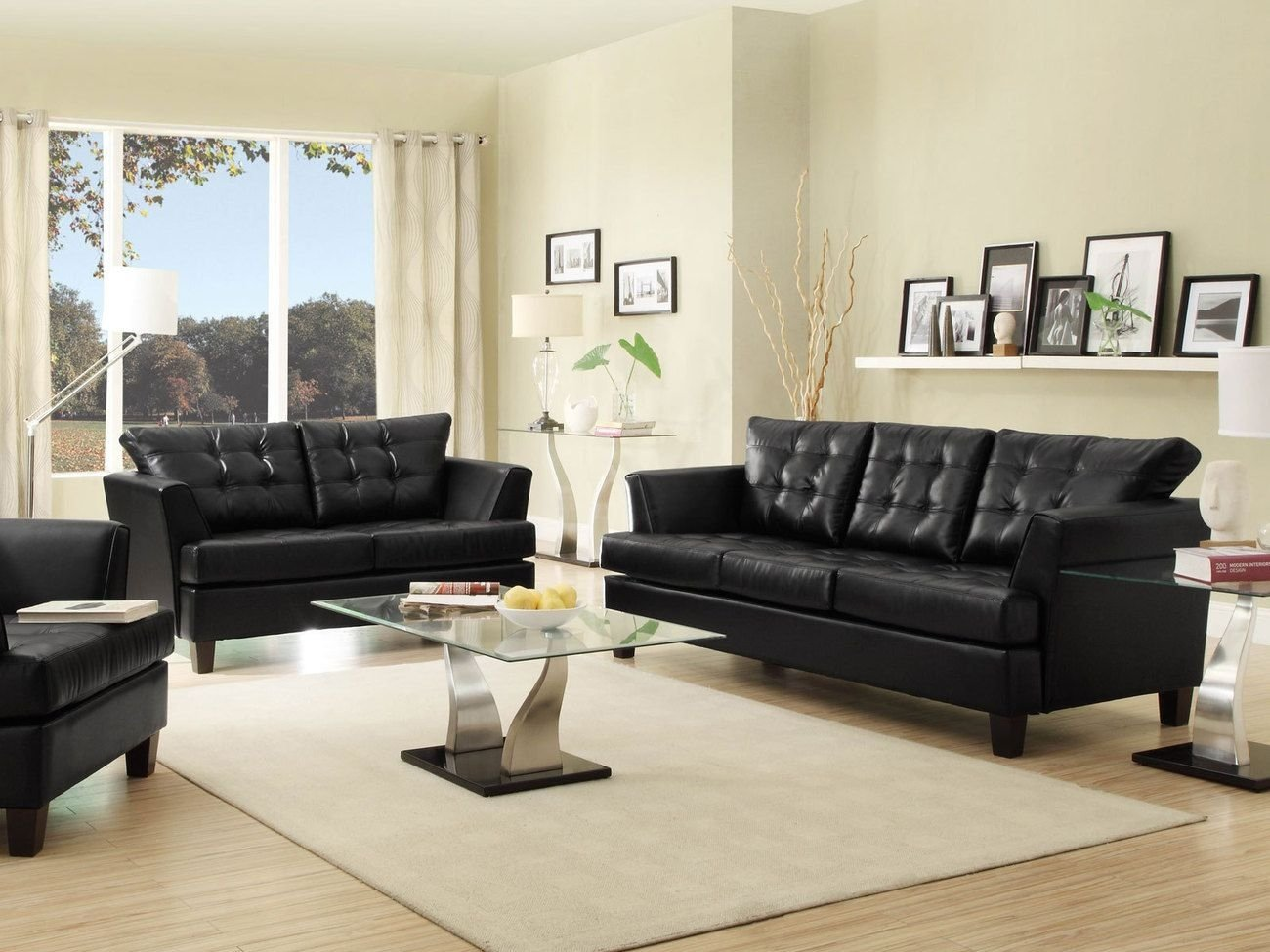 10 Fashionable Black Couch Living Room Ideas iris modern black faux leather sofa couch loveseat set living